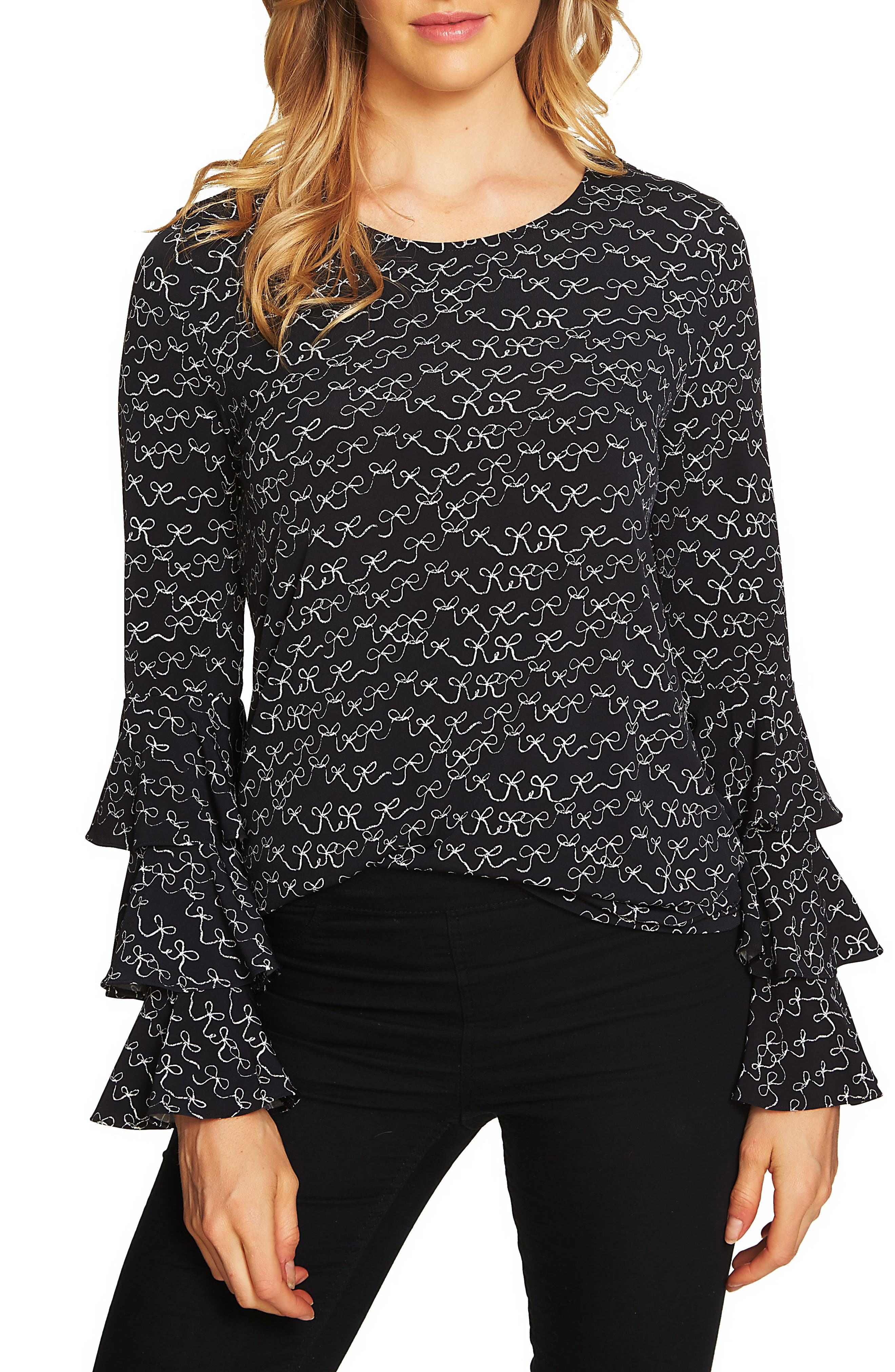 Danity Tiered Ruffle Bell Sleeve Top,                         Main,                         color, Rich Black