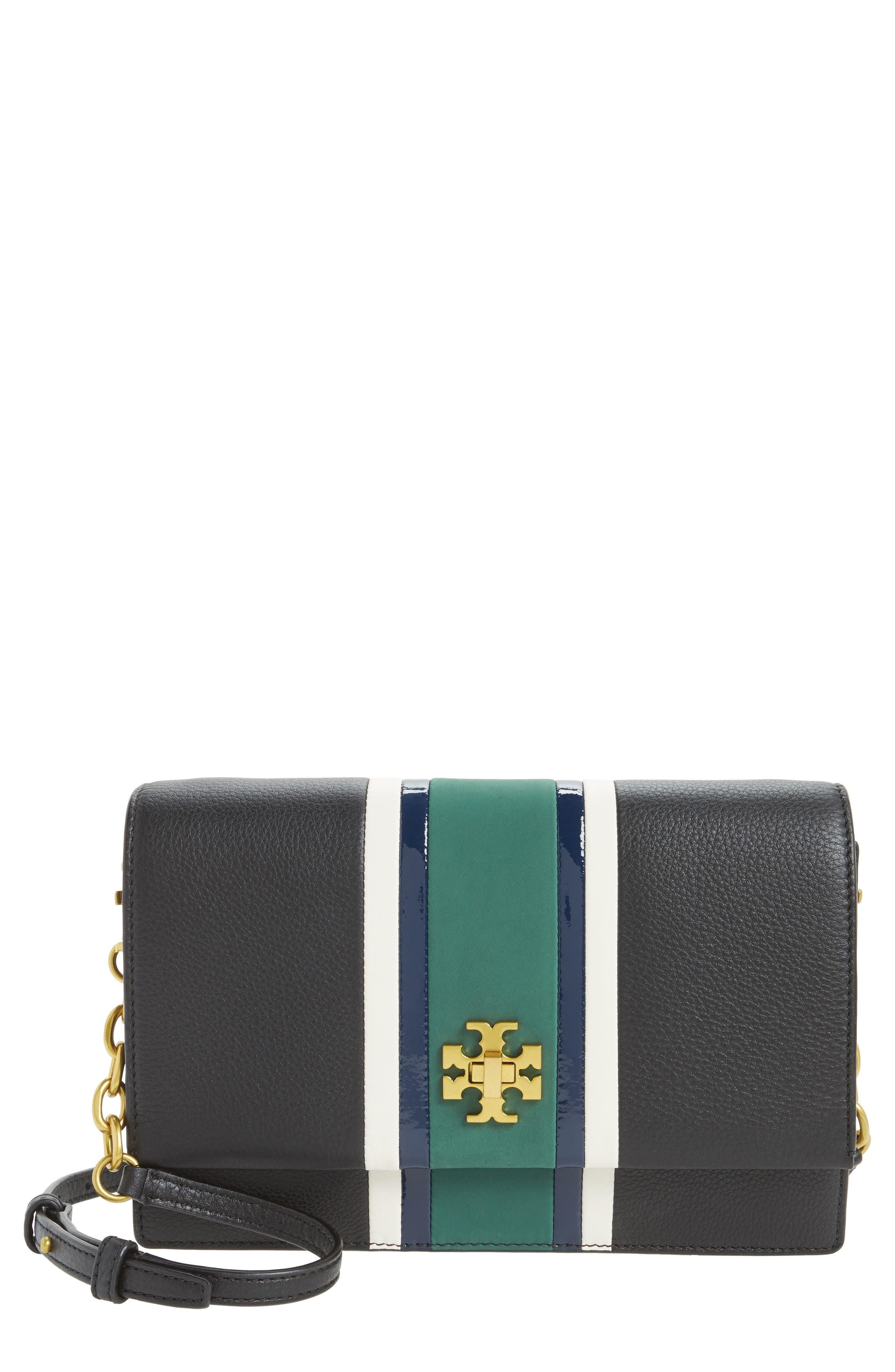 TORY BURCH Georgia Stripe Leather Shoulder Bag