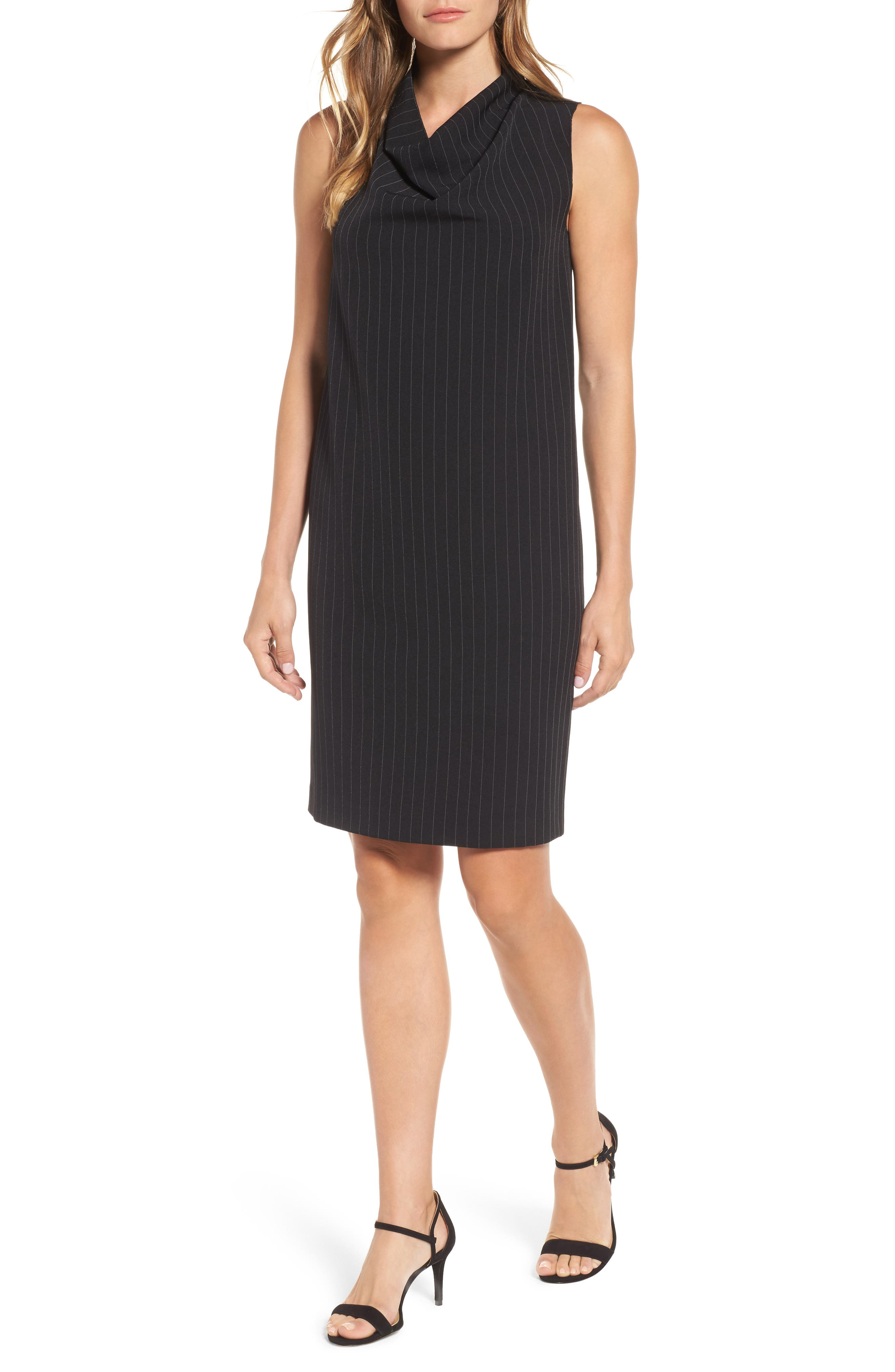 Pinstripe Shift Dress,                         Main,                         color, Black/ White