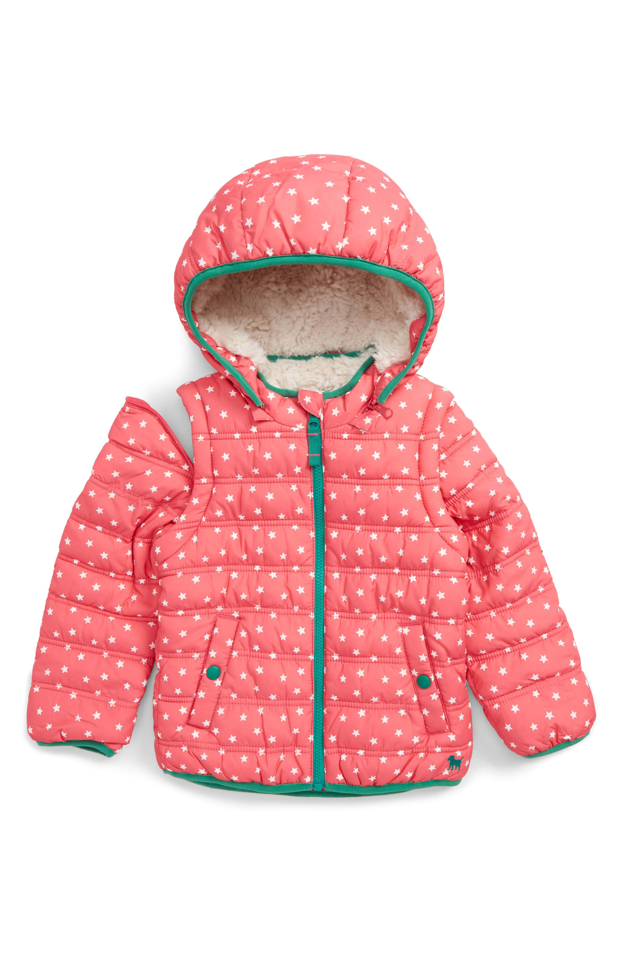 2-in-1 Water Resistant Padded Jacket,                         Main,                         color, Pink Honeysuckle