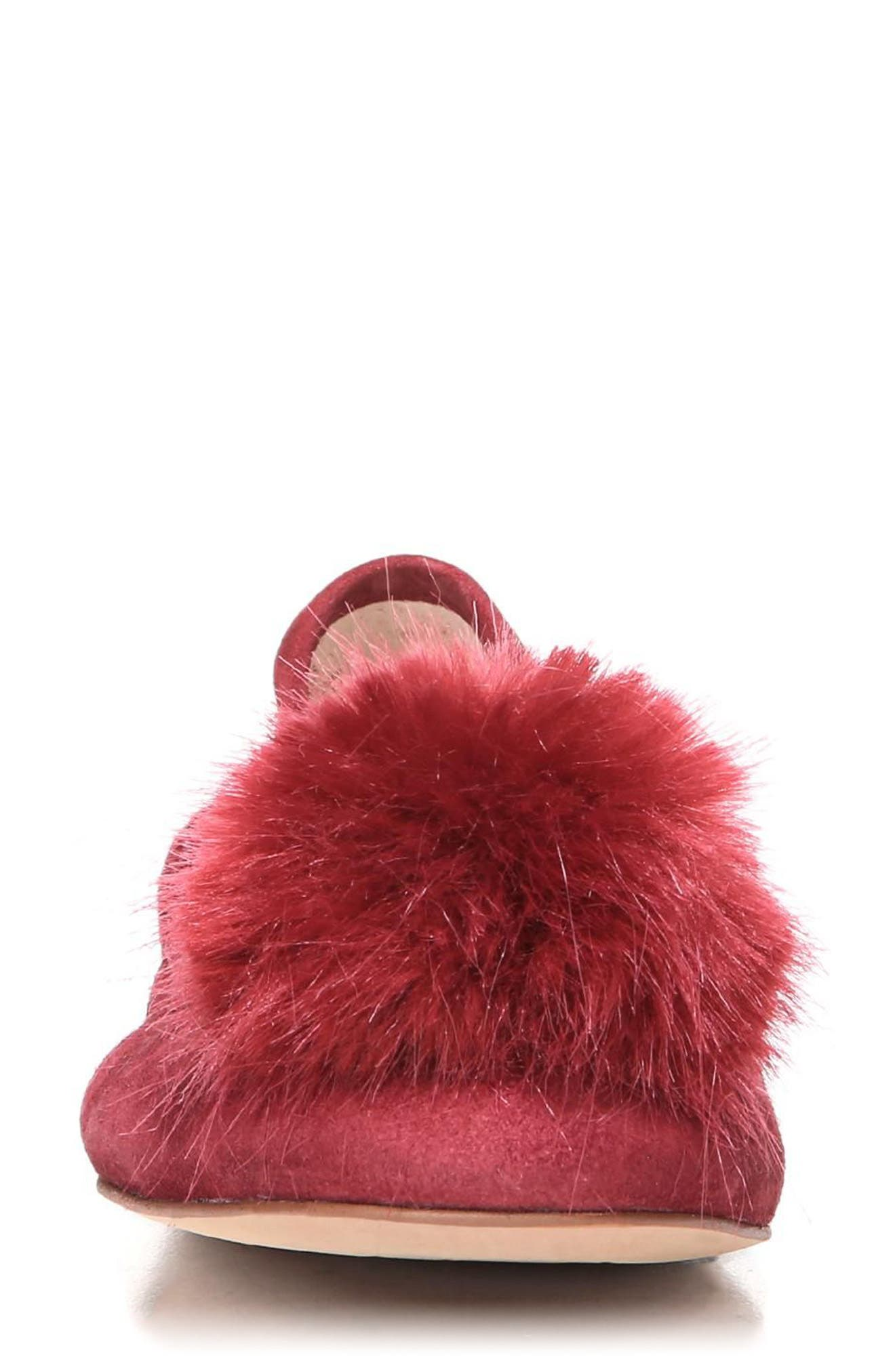 Farina Flat with Faux Fur Pompom,                             Alternate thumbnail 4, color,                             Tango Red Leather