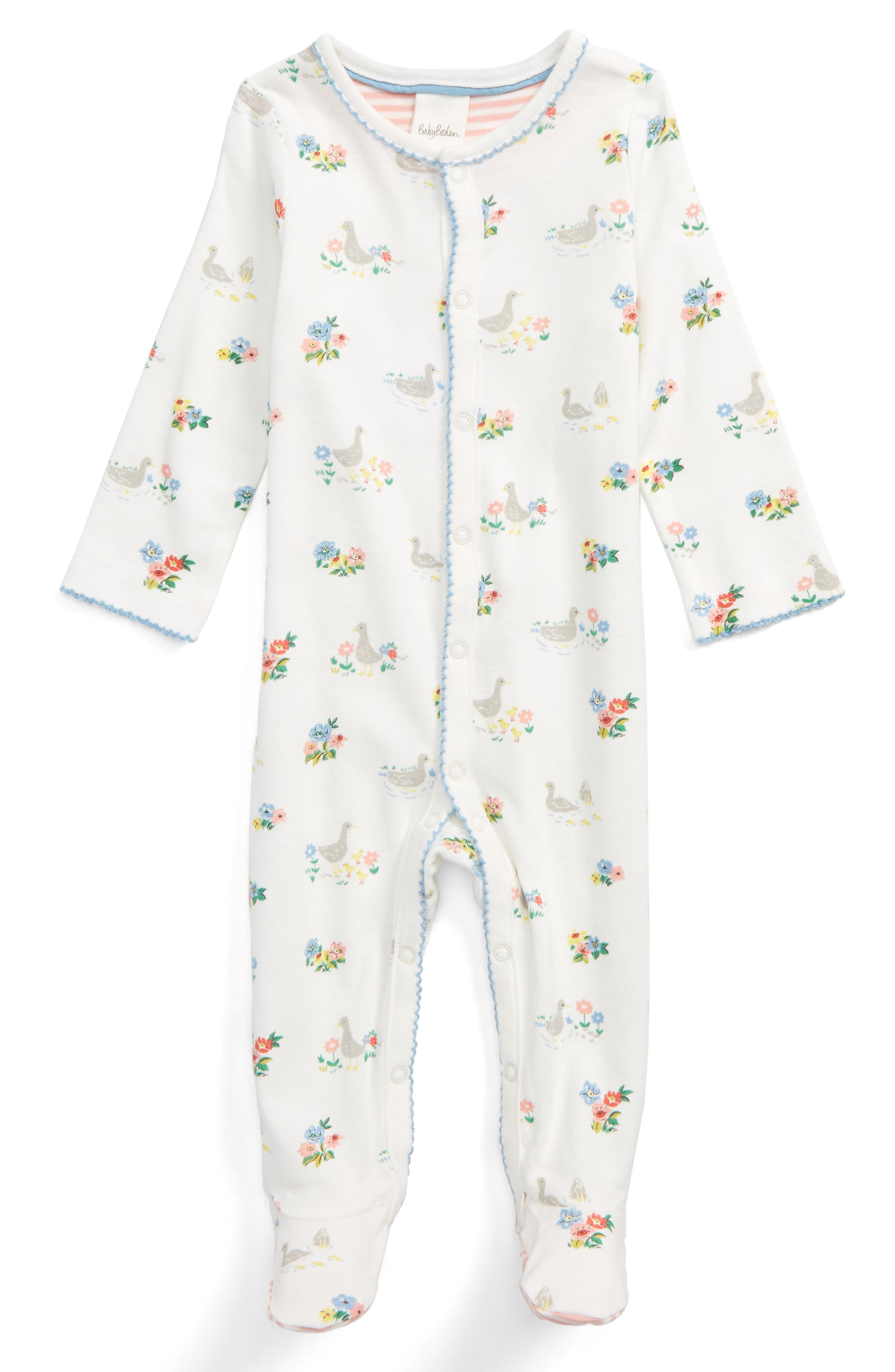 Main Image - Mini Boden Pretty Supersoft One-Piece Pajamas (Baby Girls)