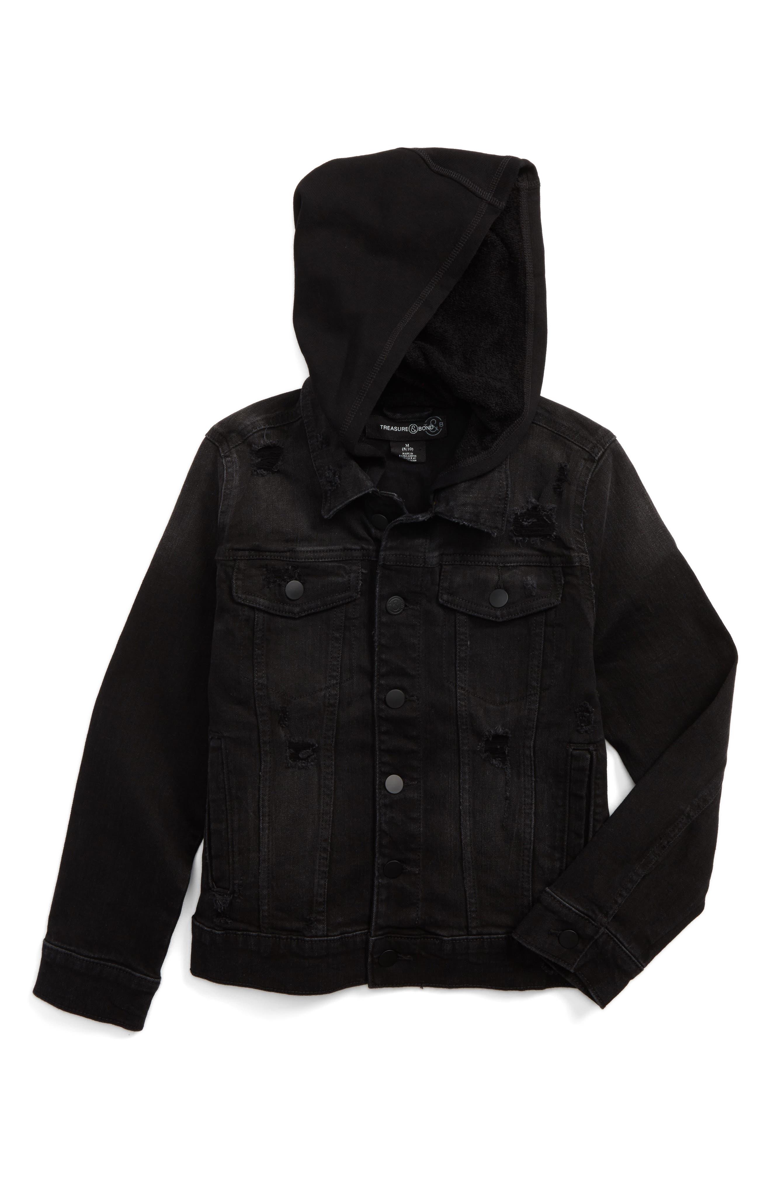 Distressed Denim Hooded Jacket,                         Main,                         color, Black