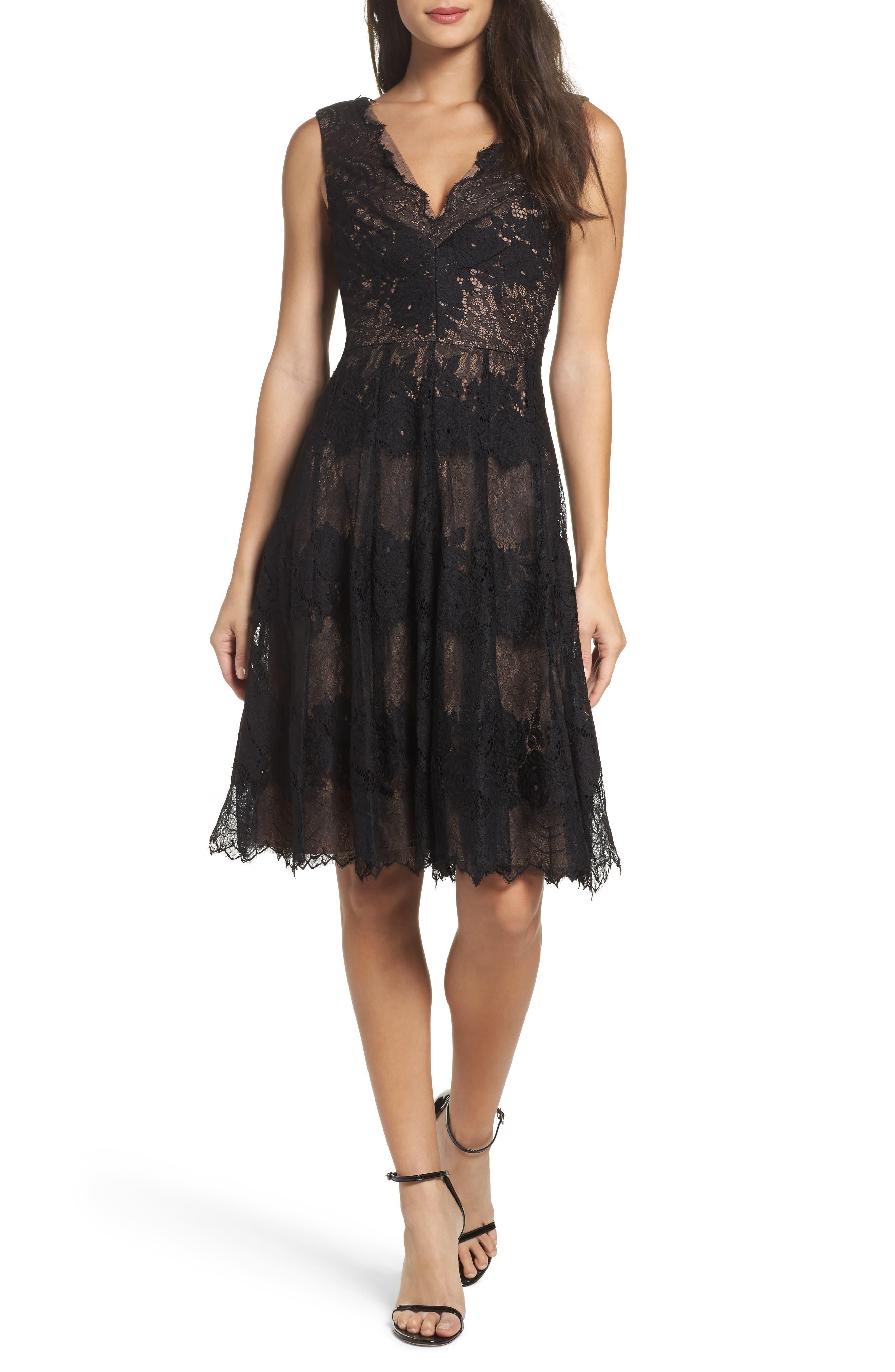 Vera Wang V-Neck Lace Fit & Flare Dress