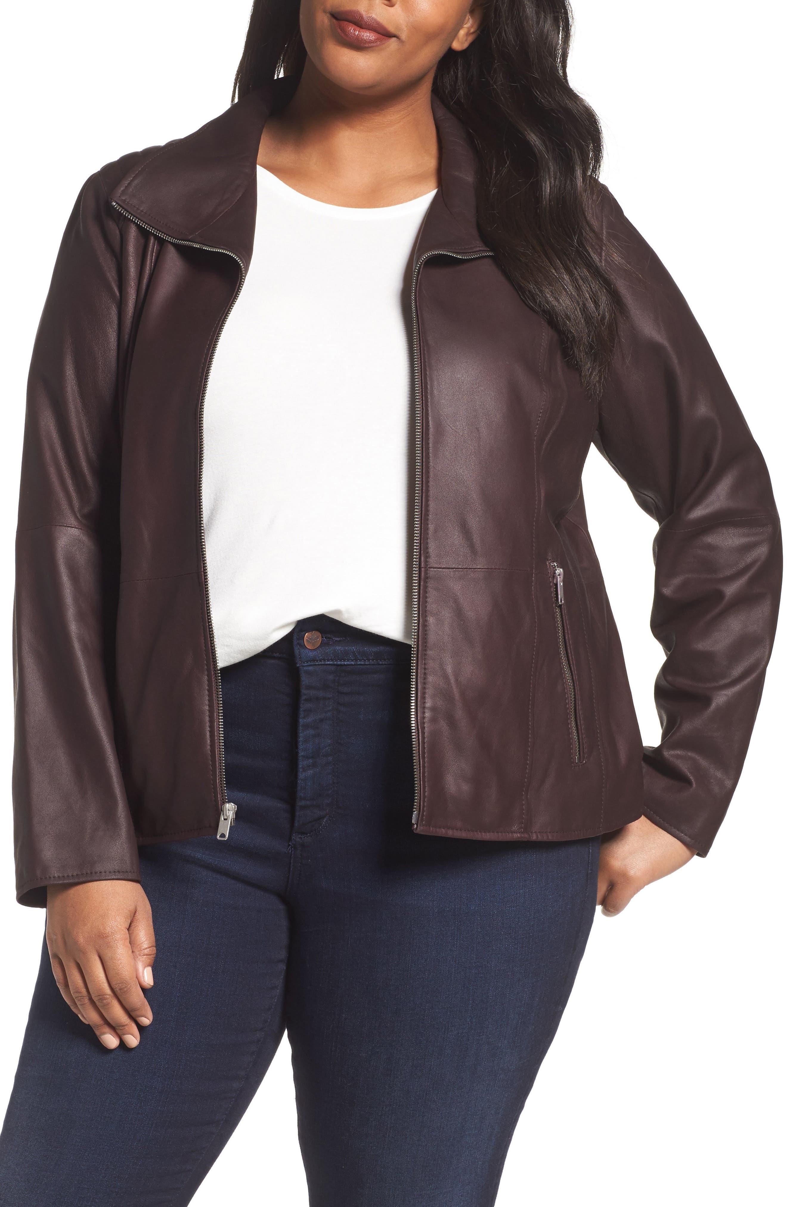 Andrew Marc Fabian Leather Moto Jacket (Plus Size)