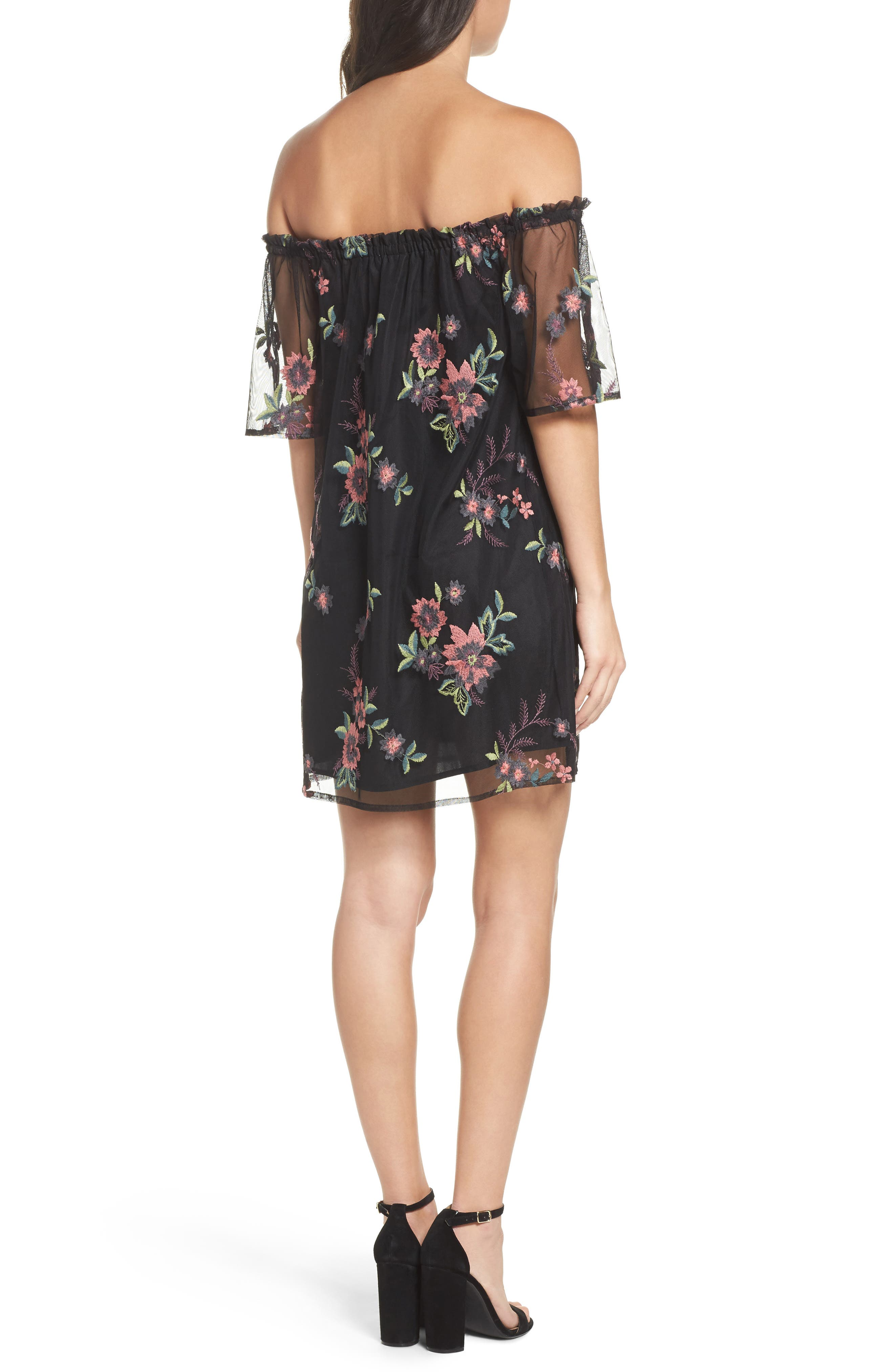 Lacole Embroidered Mesh Shift Dress,                             Alternate thumbnail 2, color,                             Black