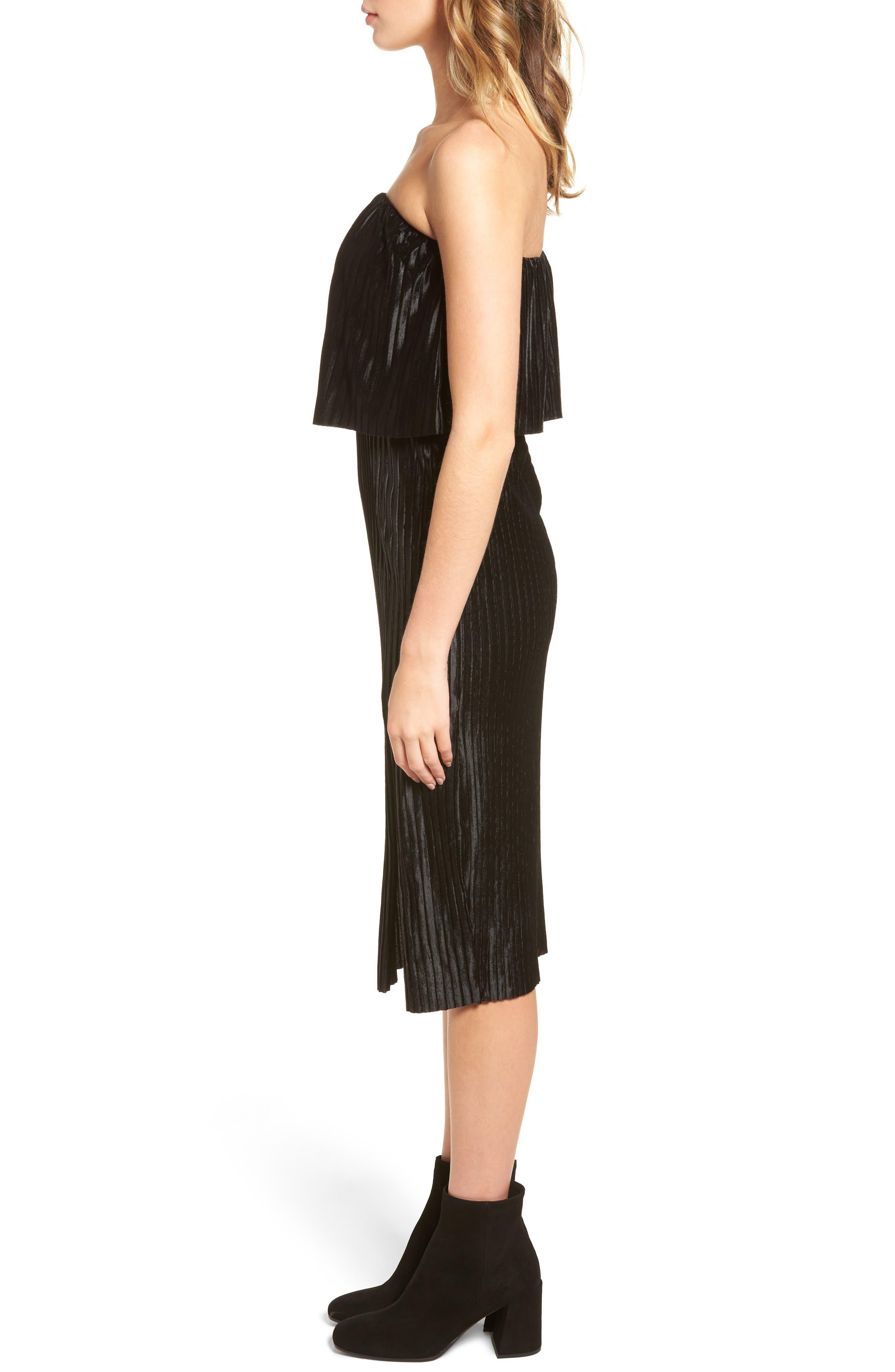 Pleated Popover Midi Dress,                             Alternate thumbnail 3, color,                             Black