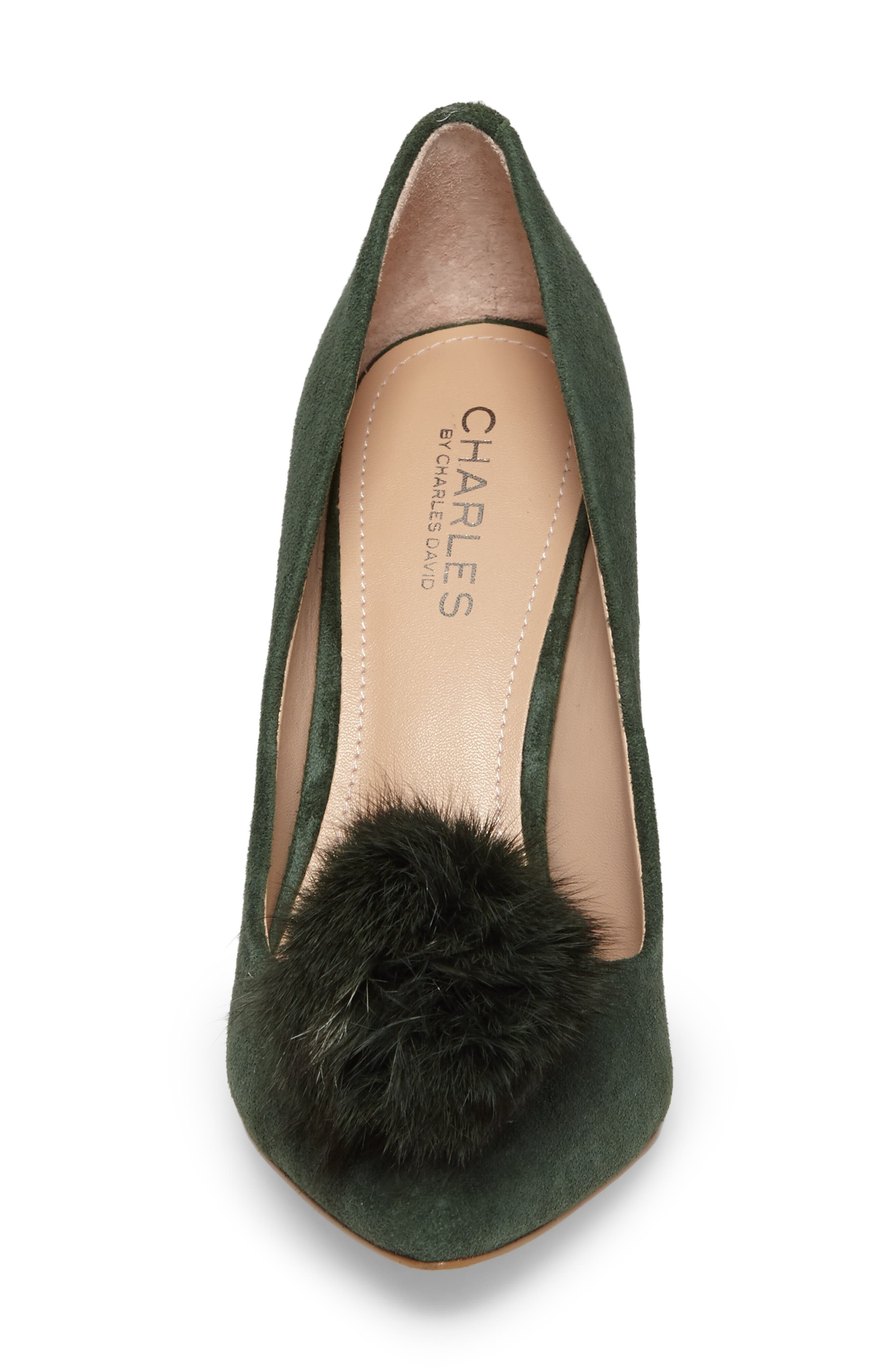 Alternate Image 4  - Charles by Charles David Pixie Pump with Genuine Fox Fur Pom