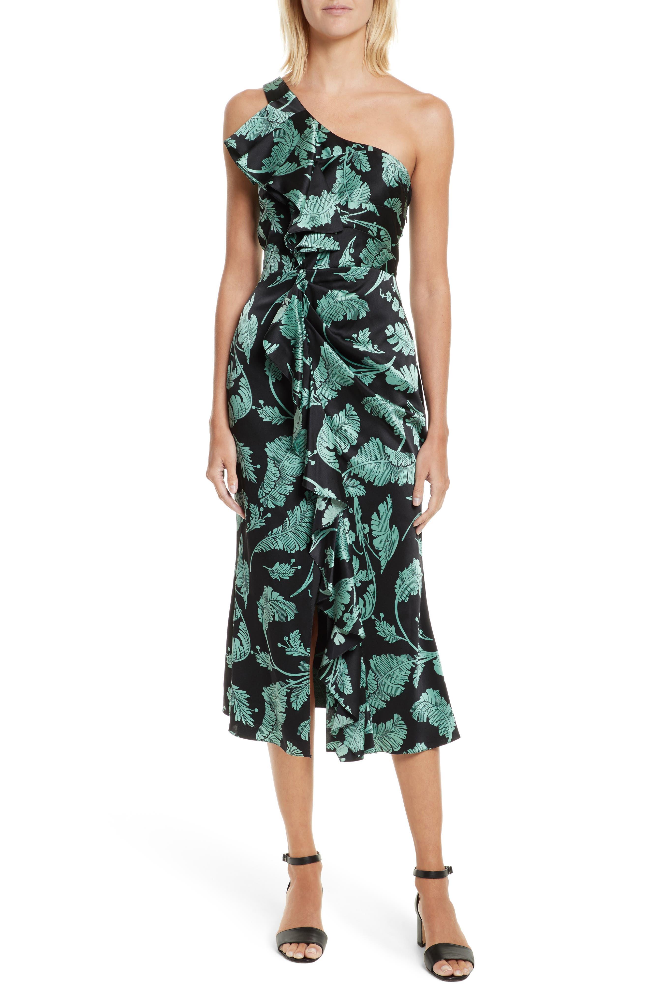 Cinq à Sept Devanna Print Silk One-Shoulder Dress