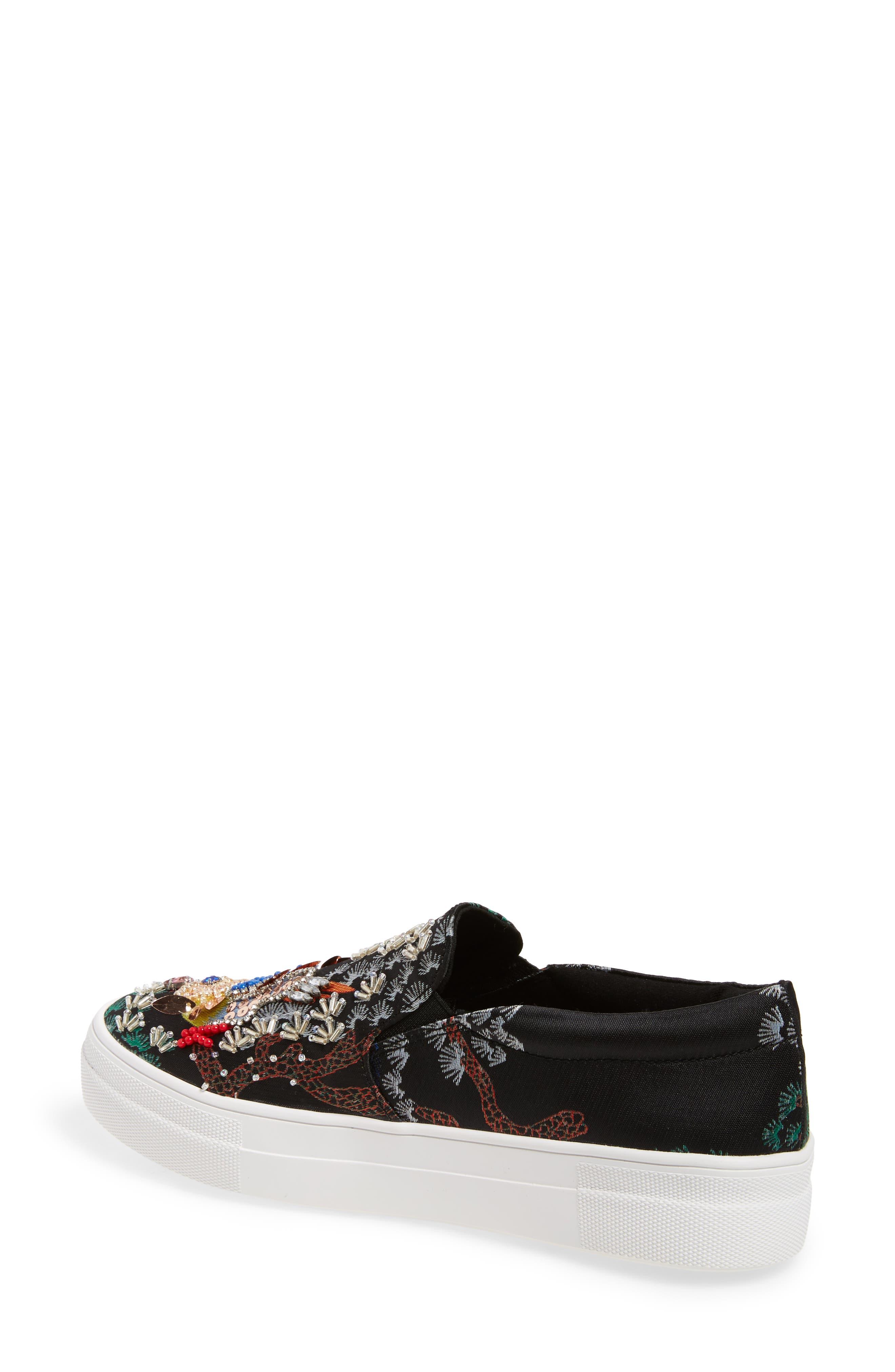 Gwen Embellished Slip-On Platform Sneaker,                             Alternate thumbnail 2, color,                             Black Multi