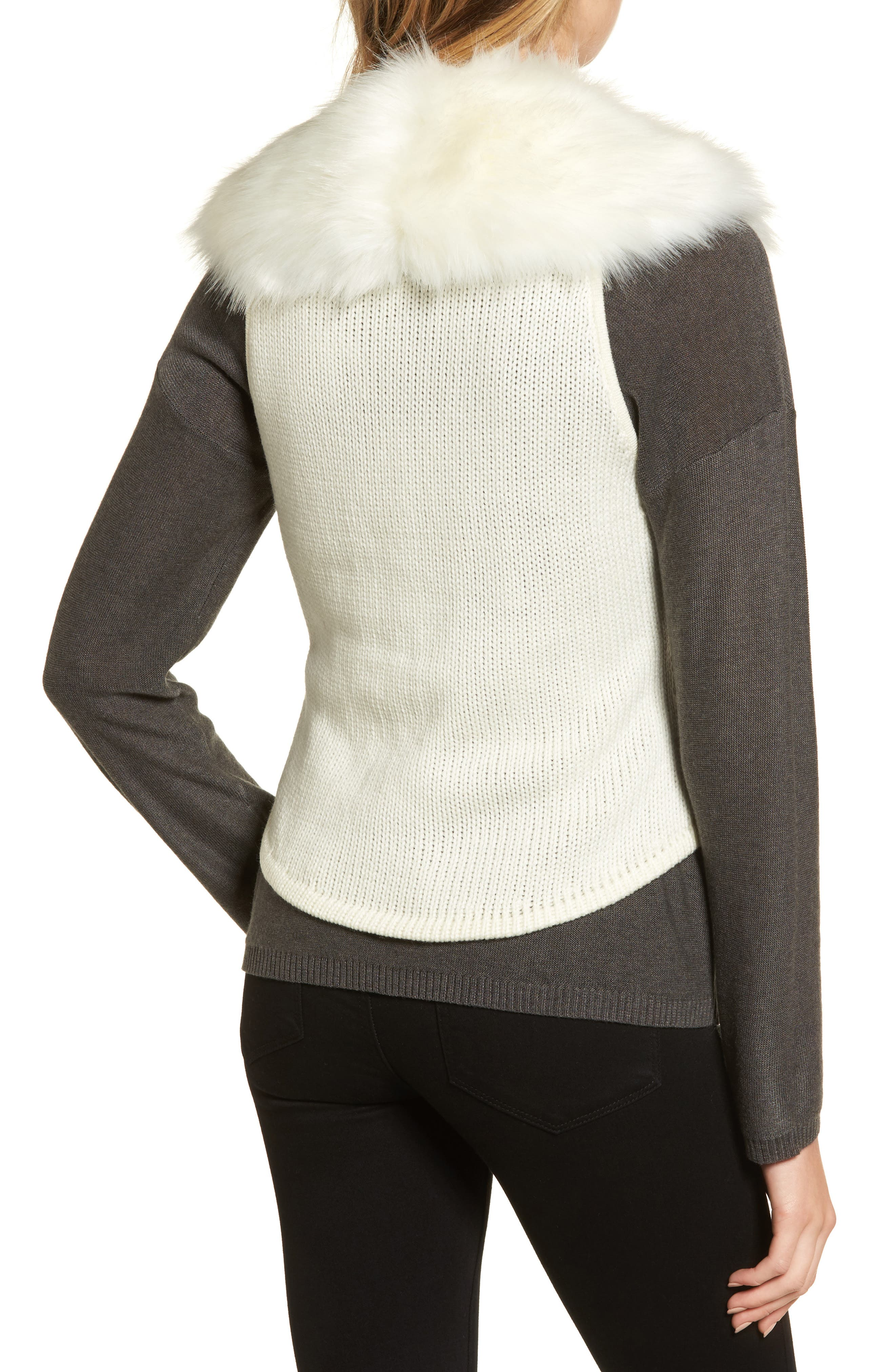 Alternate Image 2  - Love Token Faux Fur Knit Vest