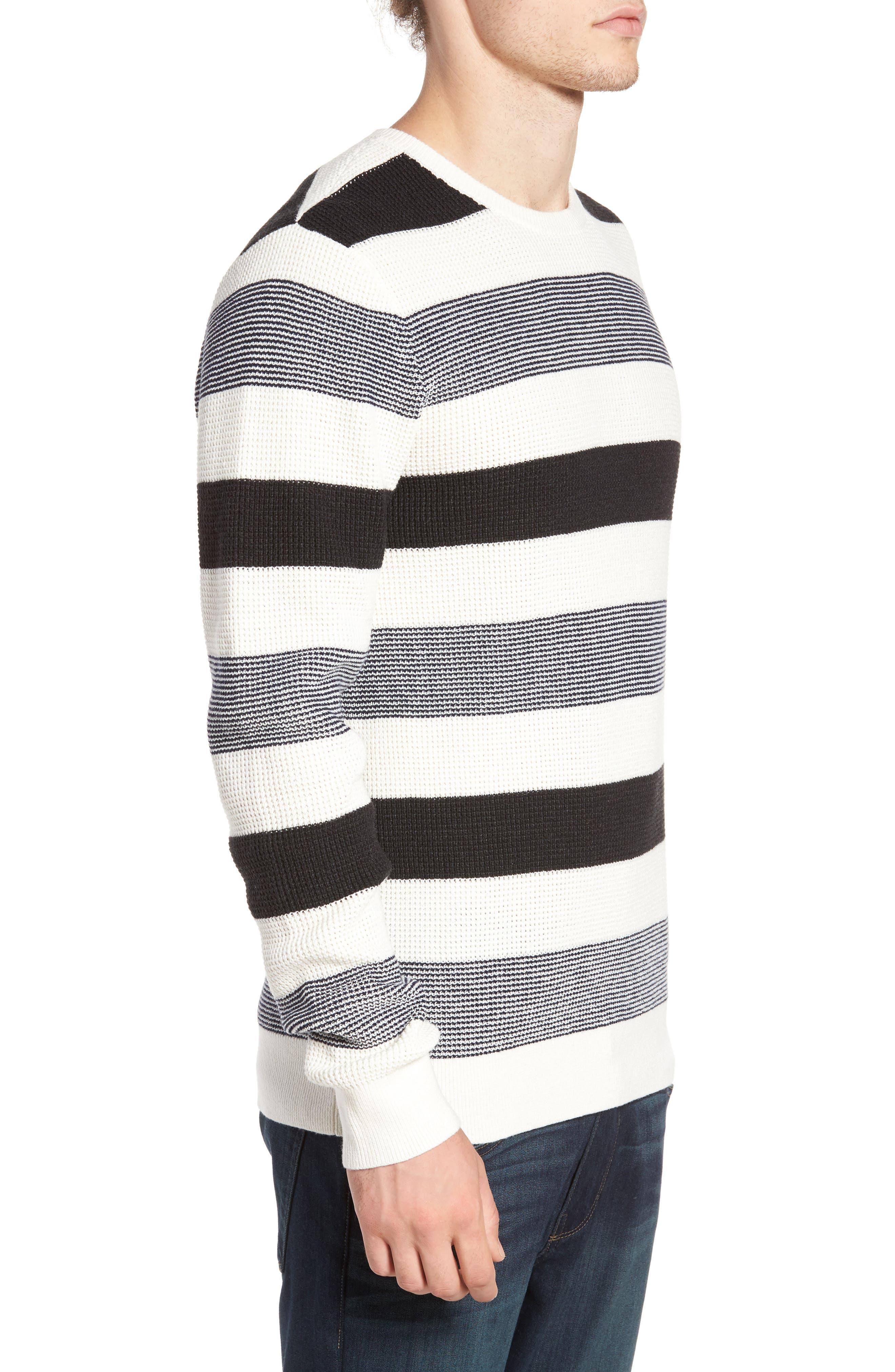 Stripe Waffle Knit Sweater,                             Alternate thumbnail 3, color,                             Ivory- Grey Large Stripe