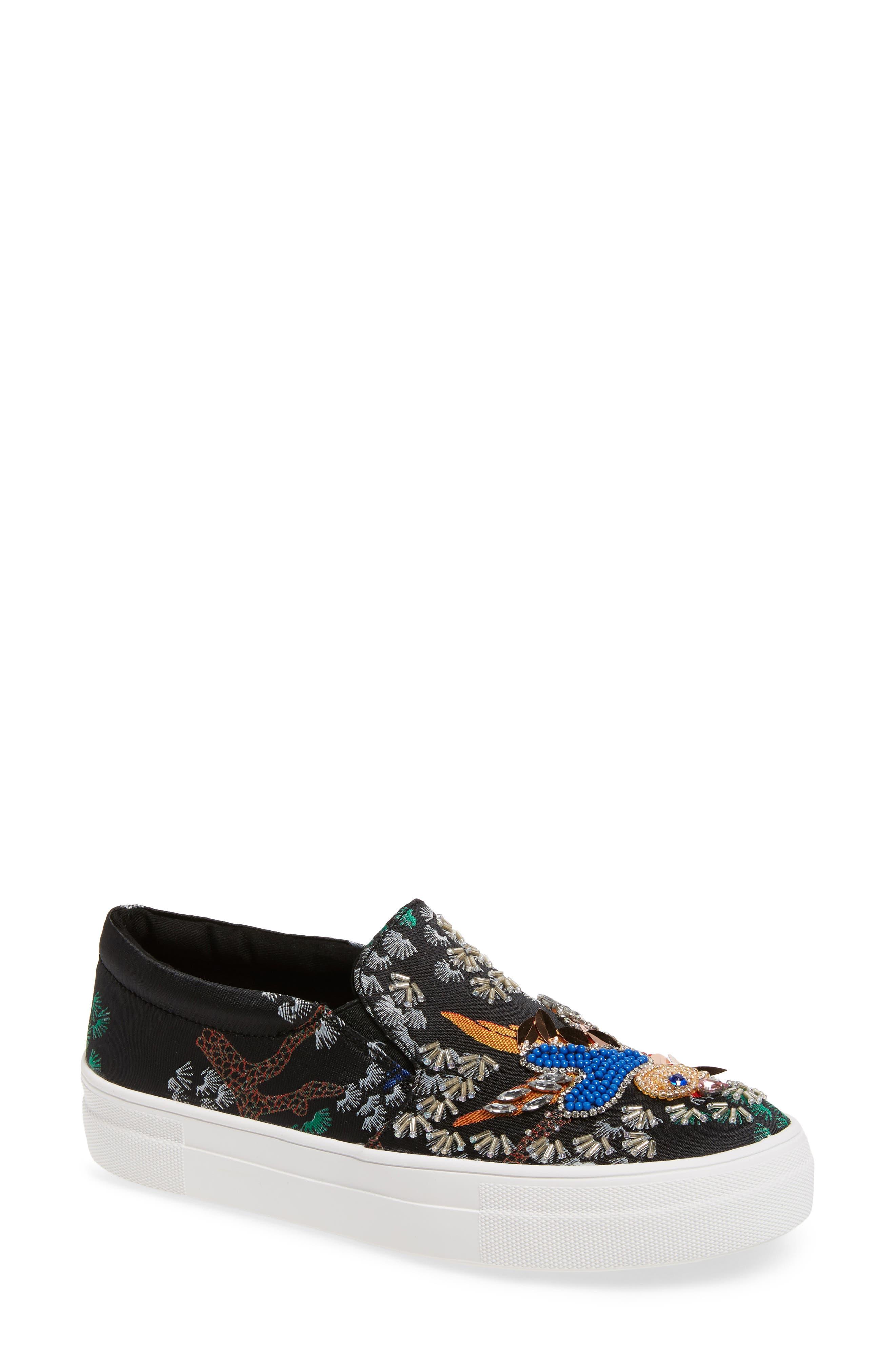 Gwen Embellished Slip-On Platform Sneaker,                         Main,                         color, Black Multi