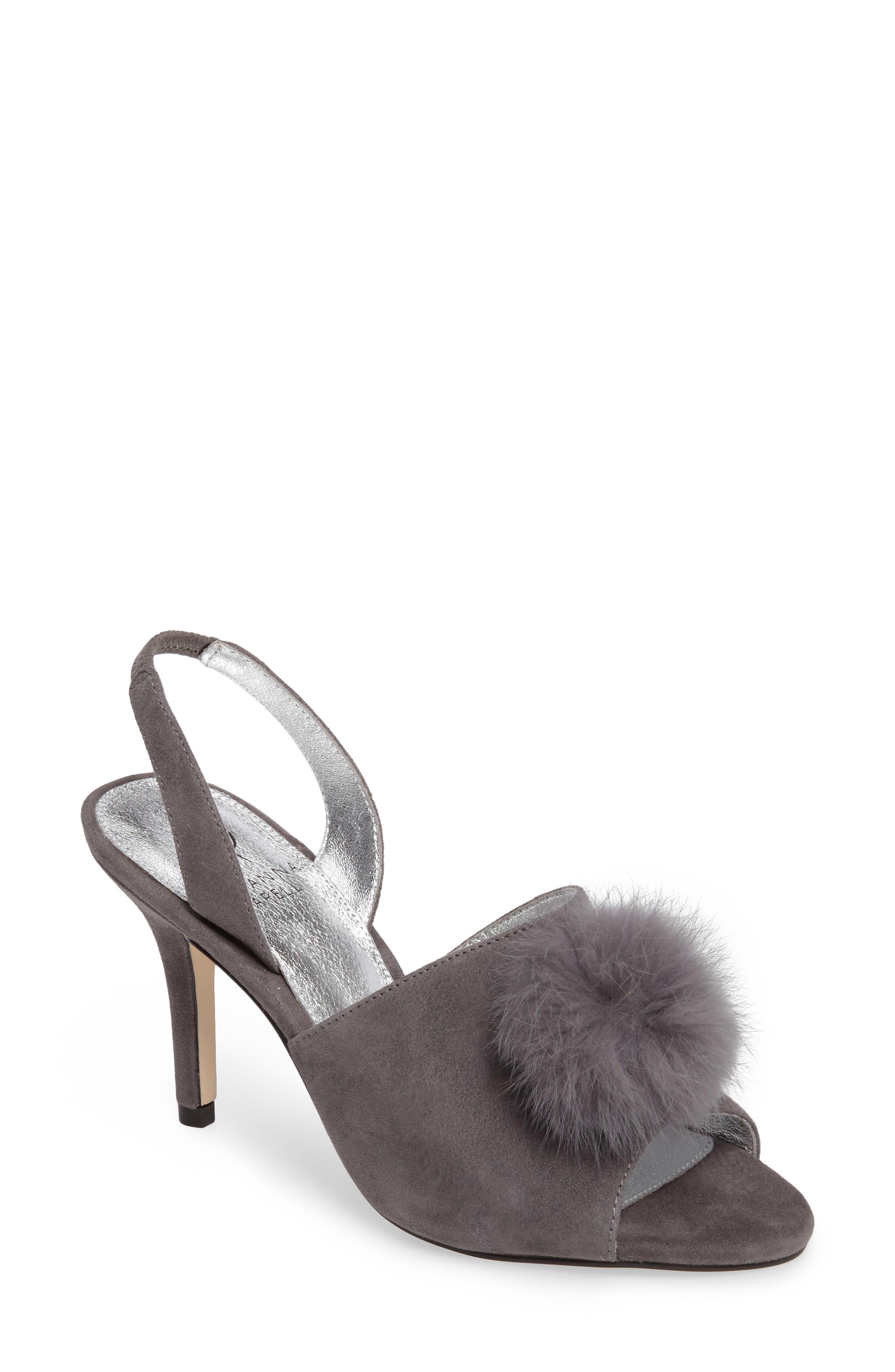 Adrianna Papell Alecia Genuine Rabbit Fur Pompom Sandal (Women)
