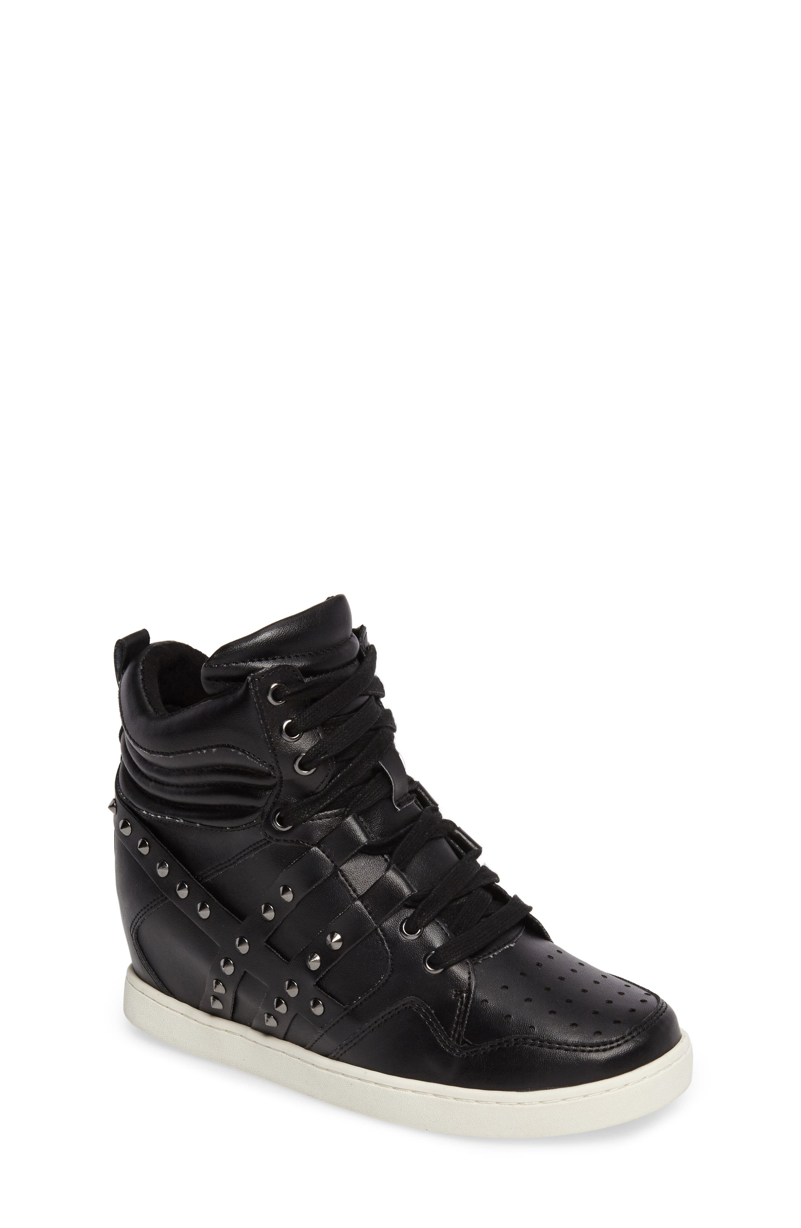 Boogie Chic Studded High Top Sneaker,                             Main thumbnail 1, color,                             Black Faux Leather