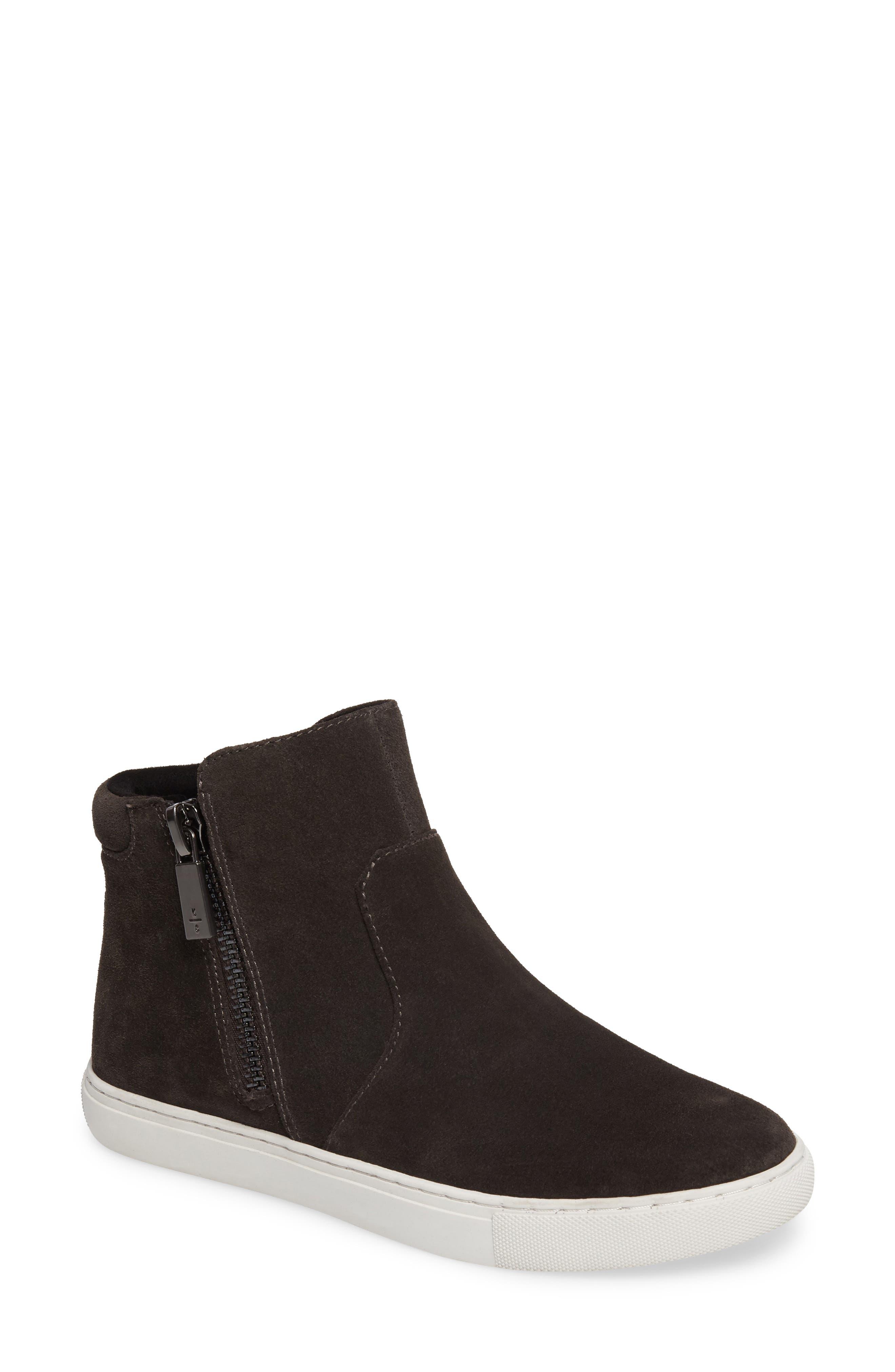 'Kiera' Zip High Top Sneaker,                             Main thumbnail 1, color,                             Asphalt Suede