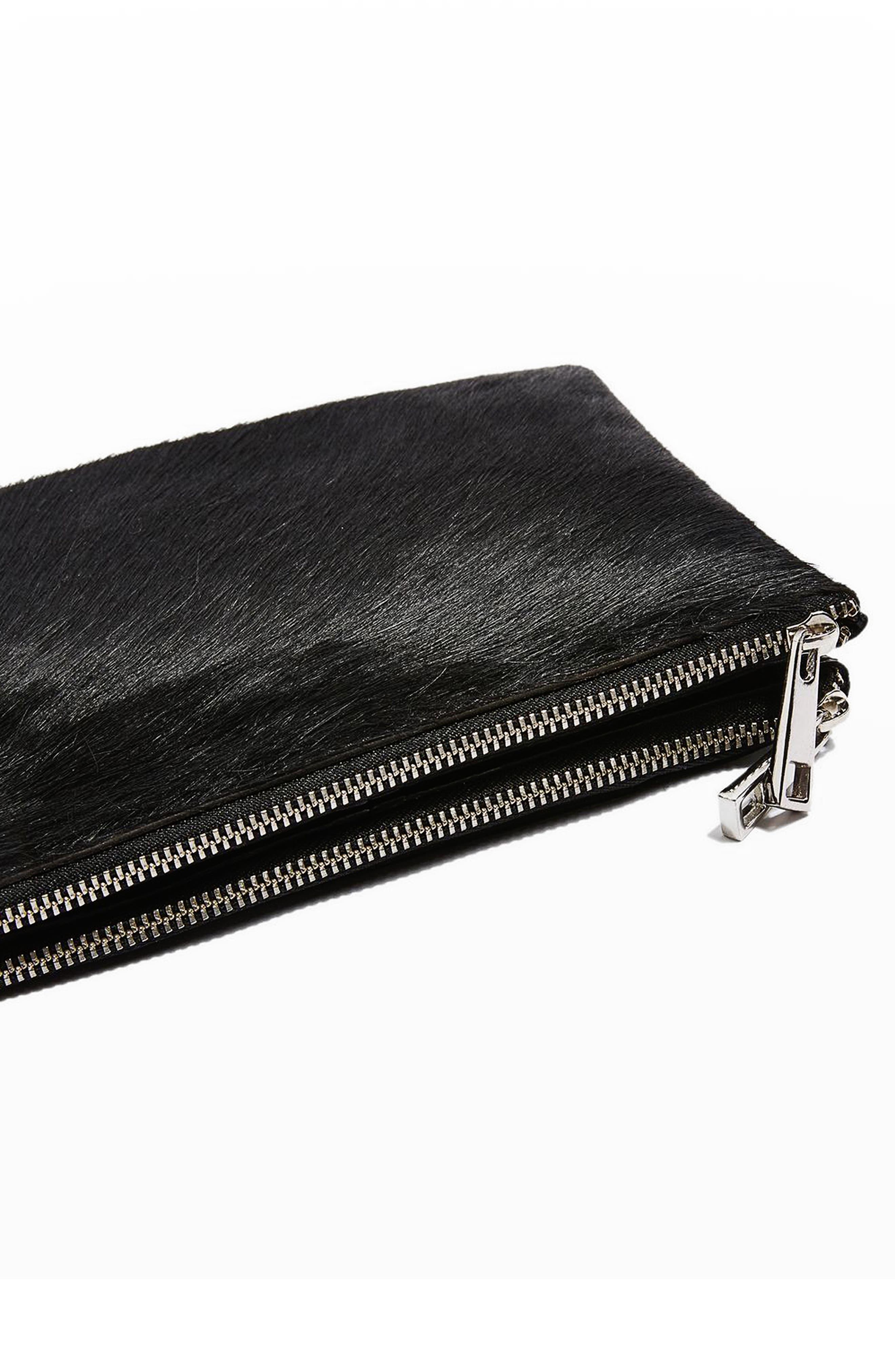Alternate Image 7  - Topshop Oakley Leather & Genuine Calf Hair Crossbody Bag
