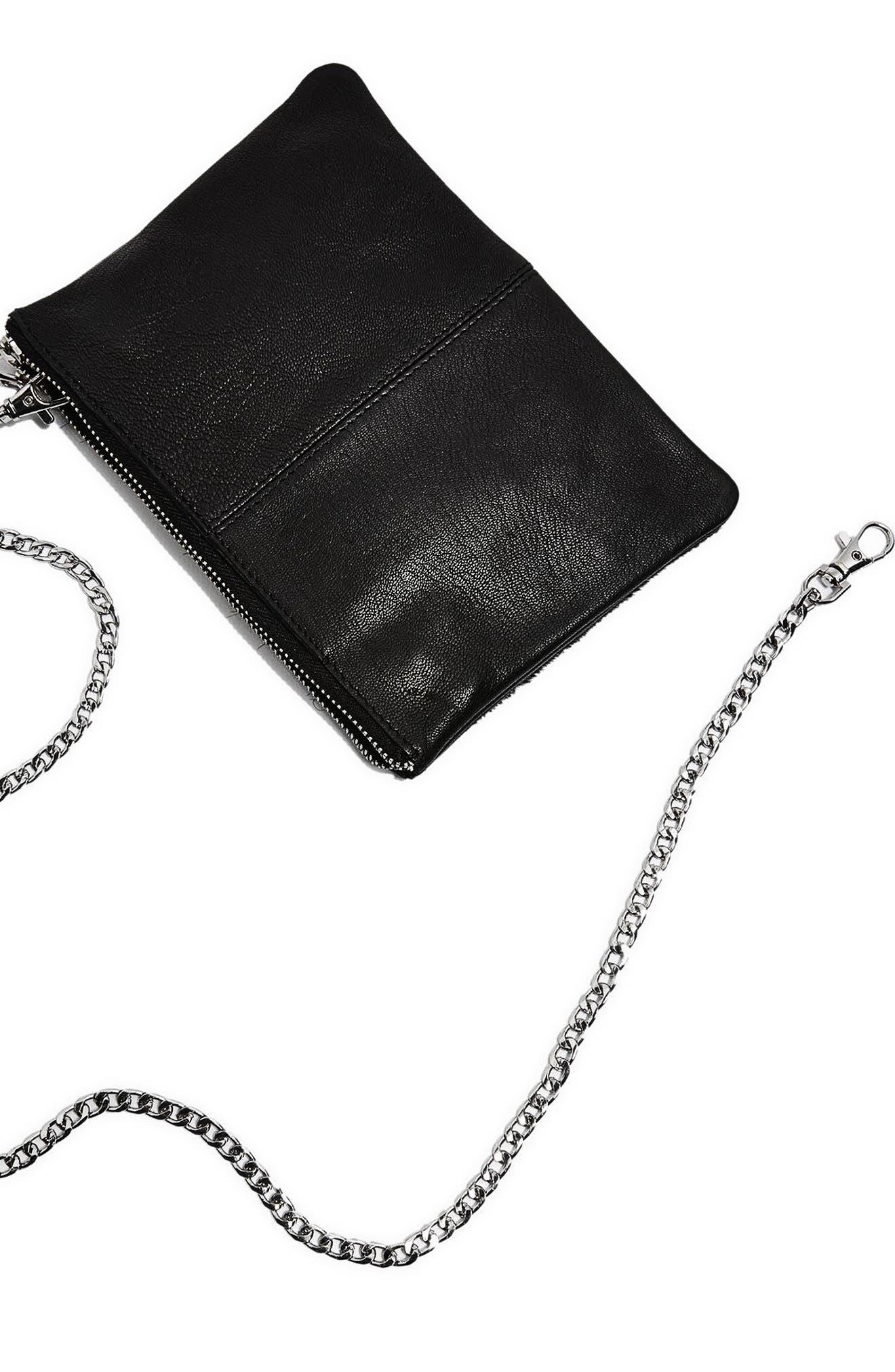 Alternate Image 9  - Topshop Oakley Leather & Genuine Calf Hair Crossbody Bag