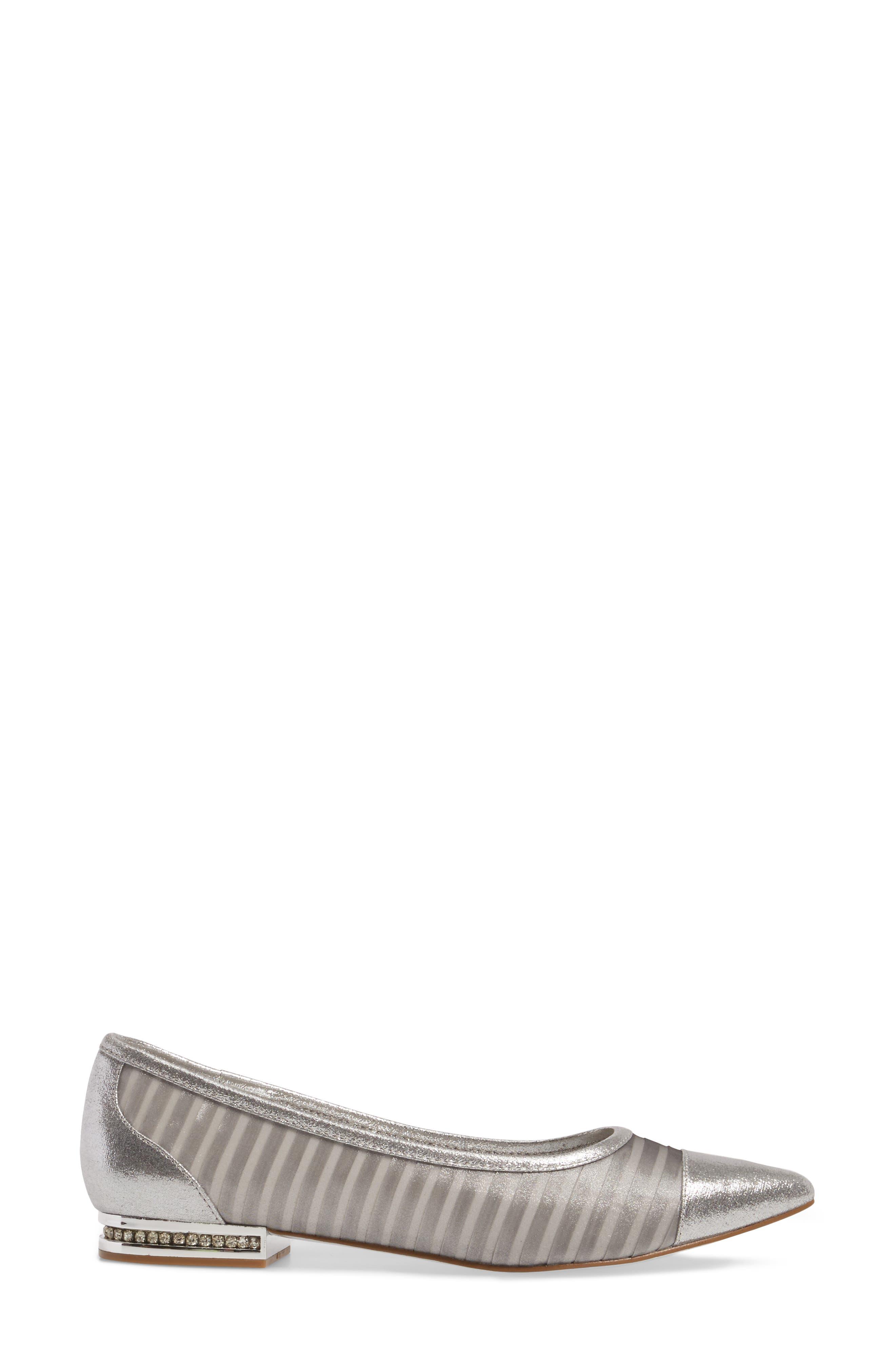 Tiffany Pointy Toe Flat,                             Alternate thumbnail 3, color,                             Silver Fabric