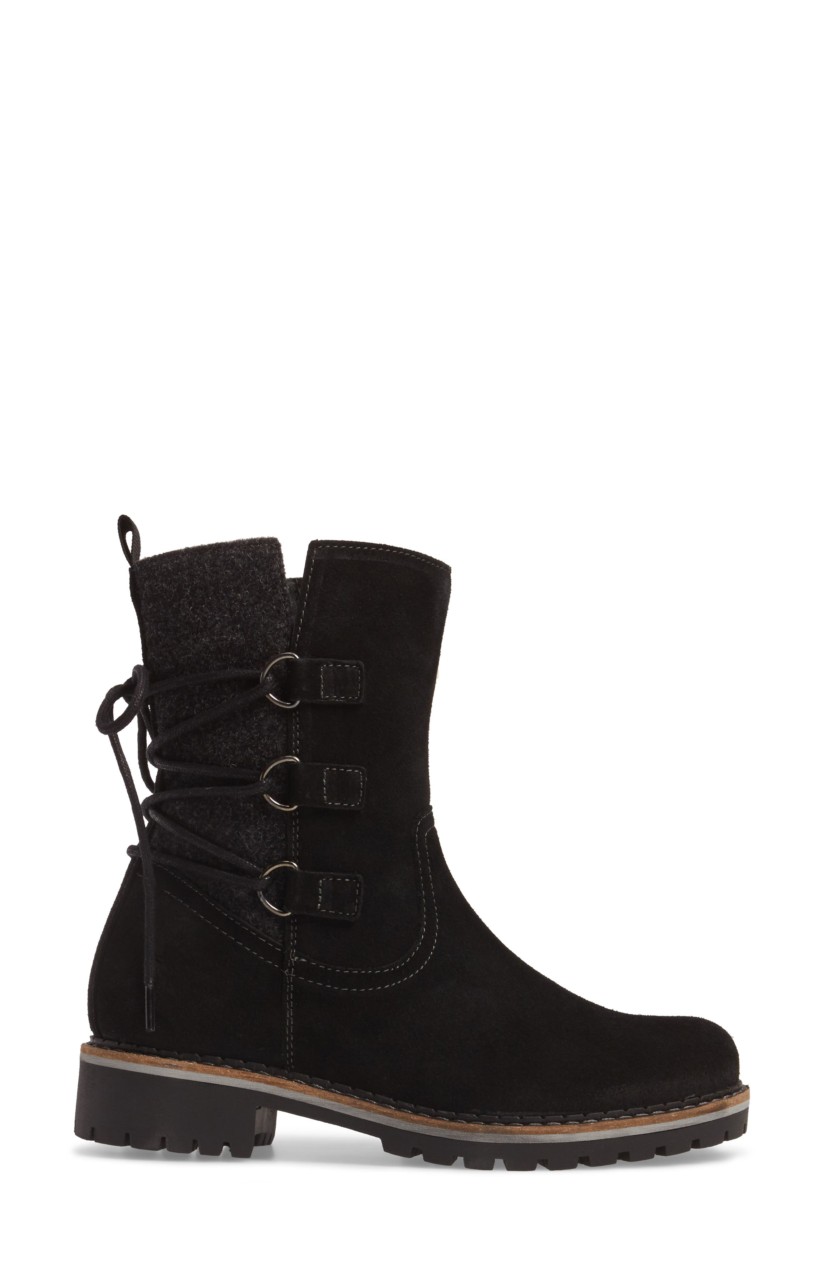 Cascade Waterproof Boot,                             Alternate thumbnail 3, color,                             Black/ Grey Suede