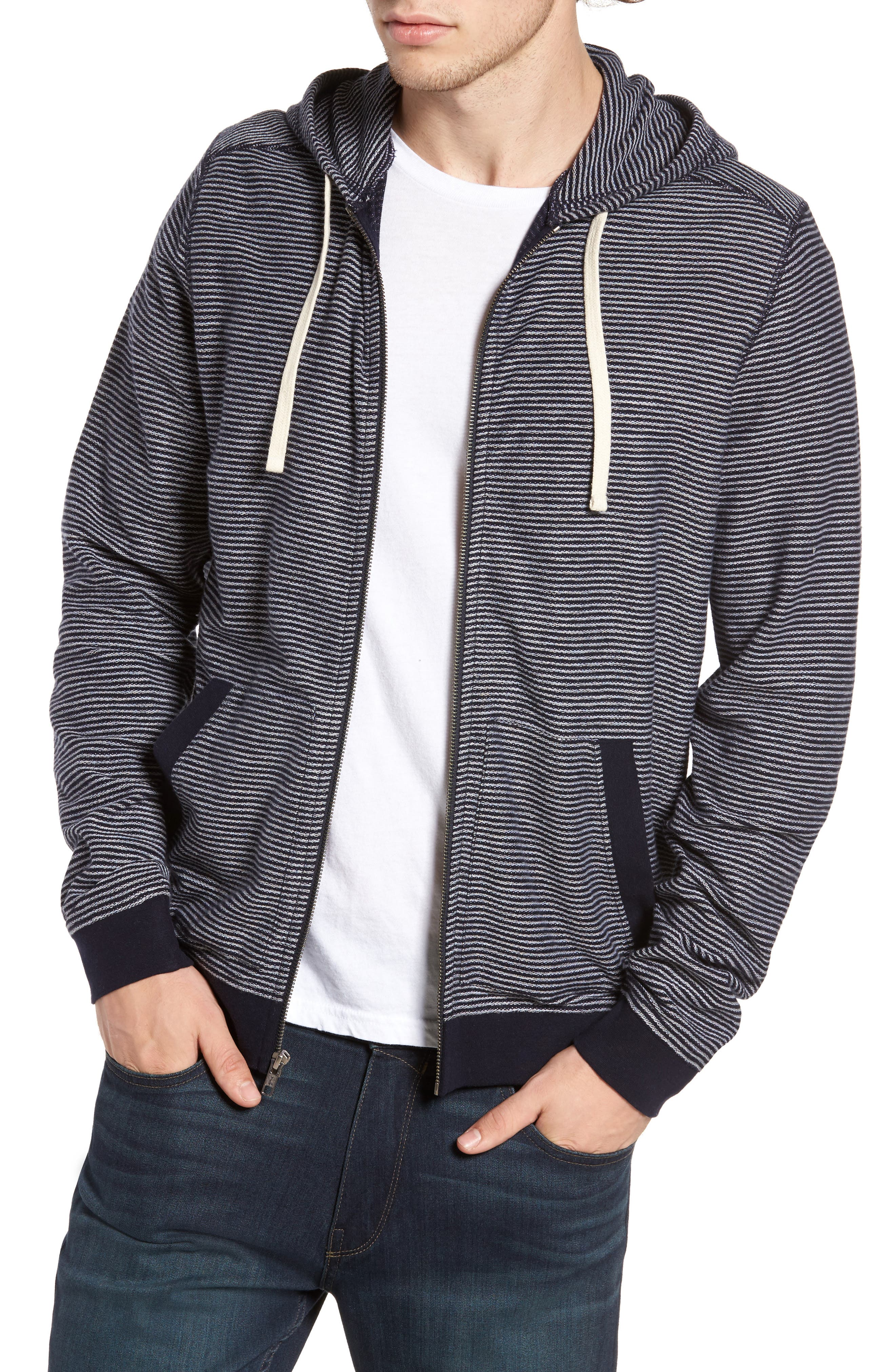 Reverse Stripe Hoodie,                         Main,                         color, Navy Peacoat Grey Stripe