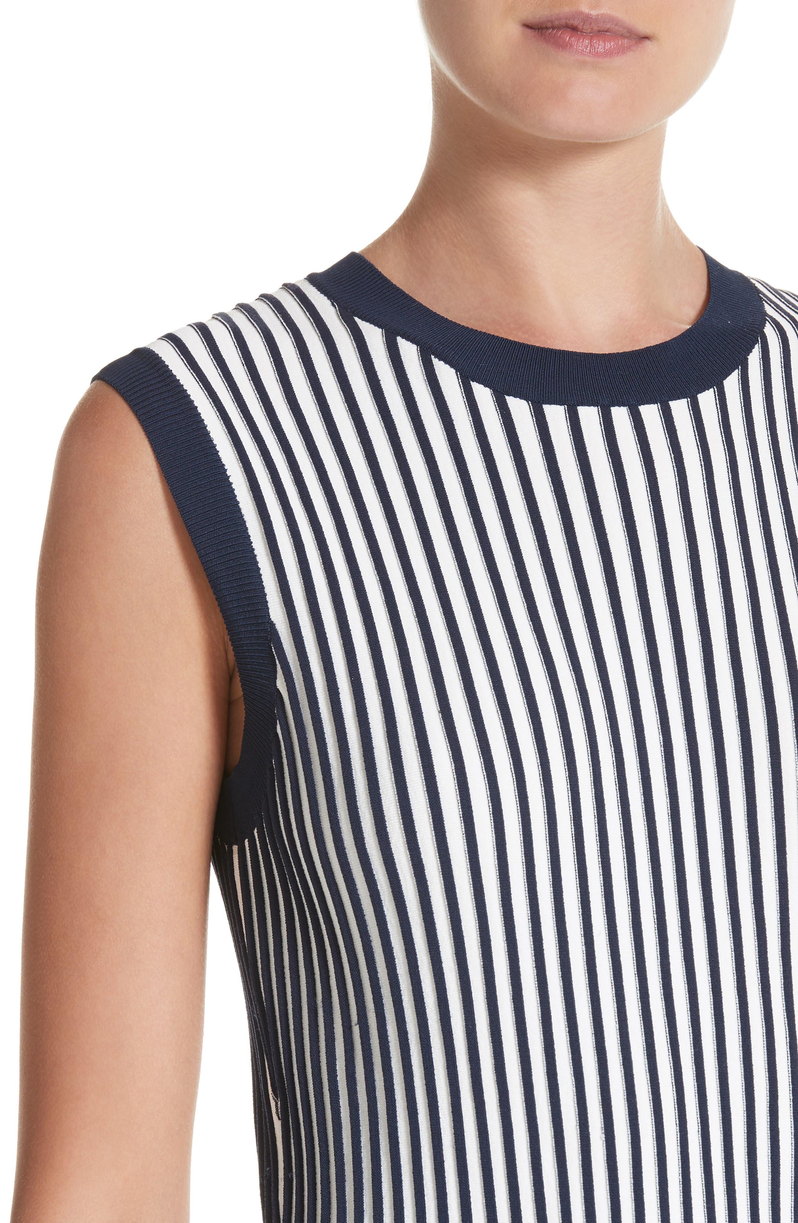 Stripe Knit Day Dress,                             Alternate thumbnail 4, color,                             Navy / Chalk