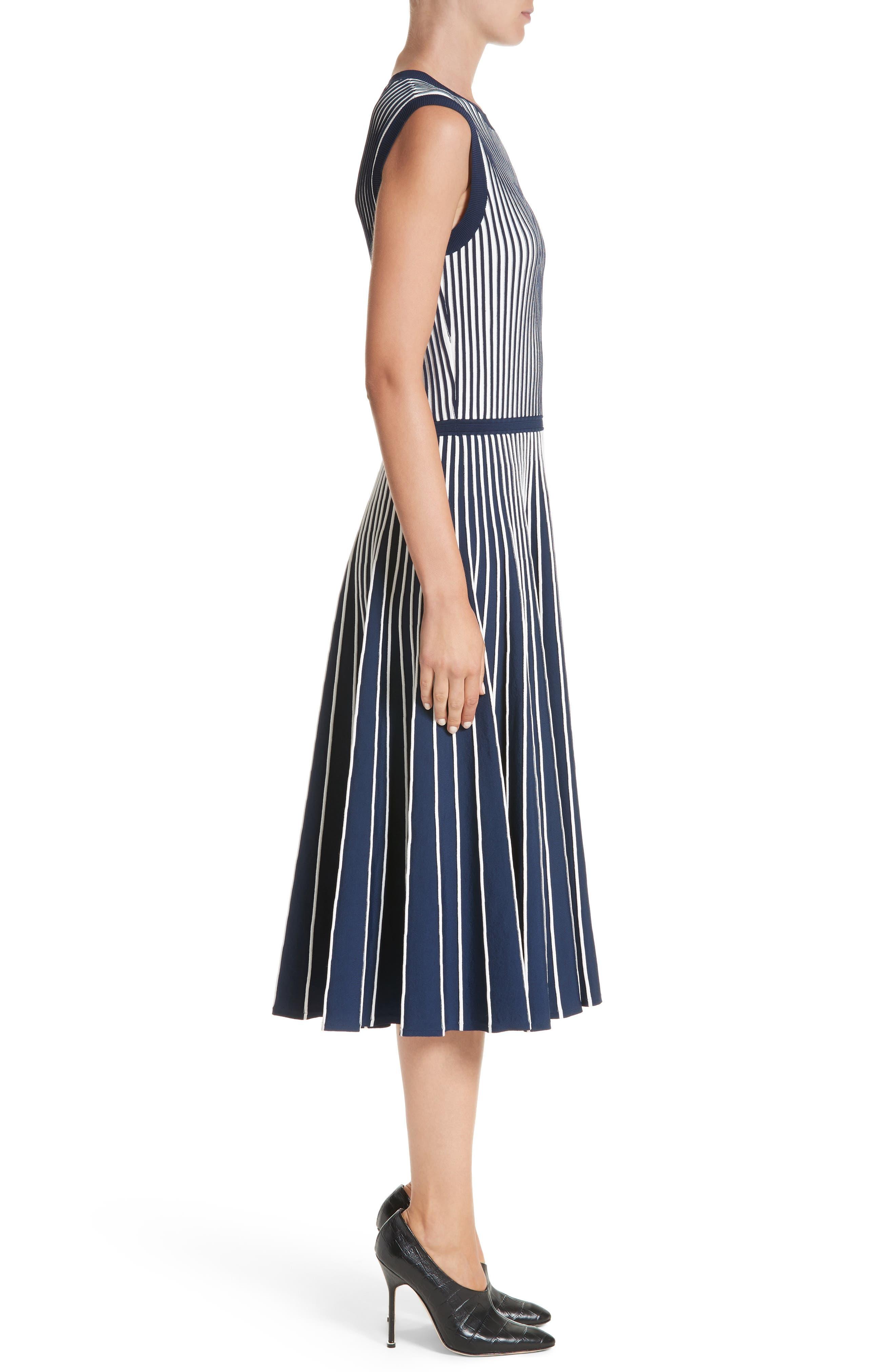 Stripe Knit Day Dress,                             Alternate thumbnail 3, color,                             Navy / Chalk