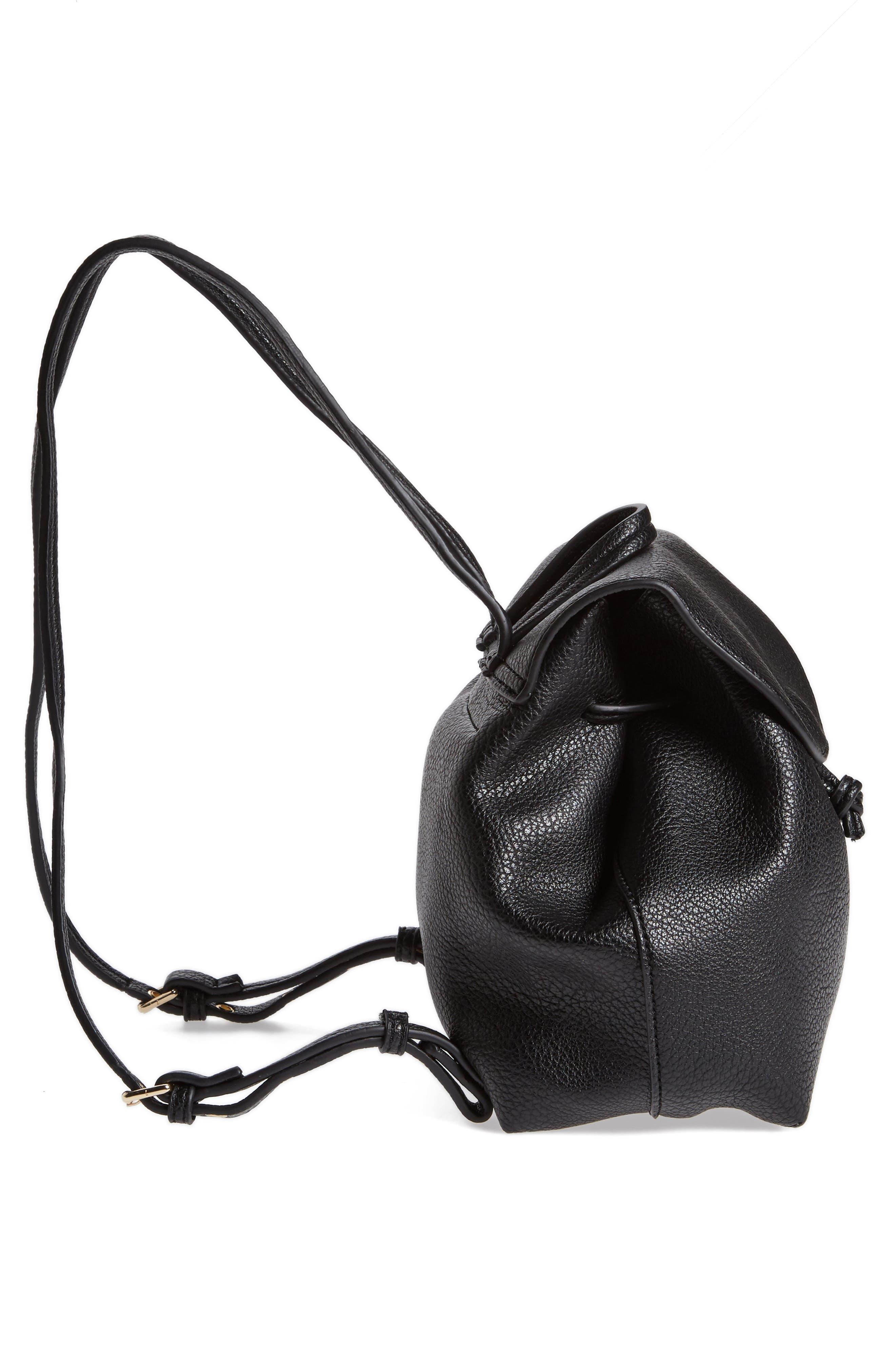 Jaylee Faux Leather Mini Backpack,                             Alternate thumbnail 4, color,                             Black