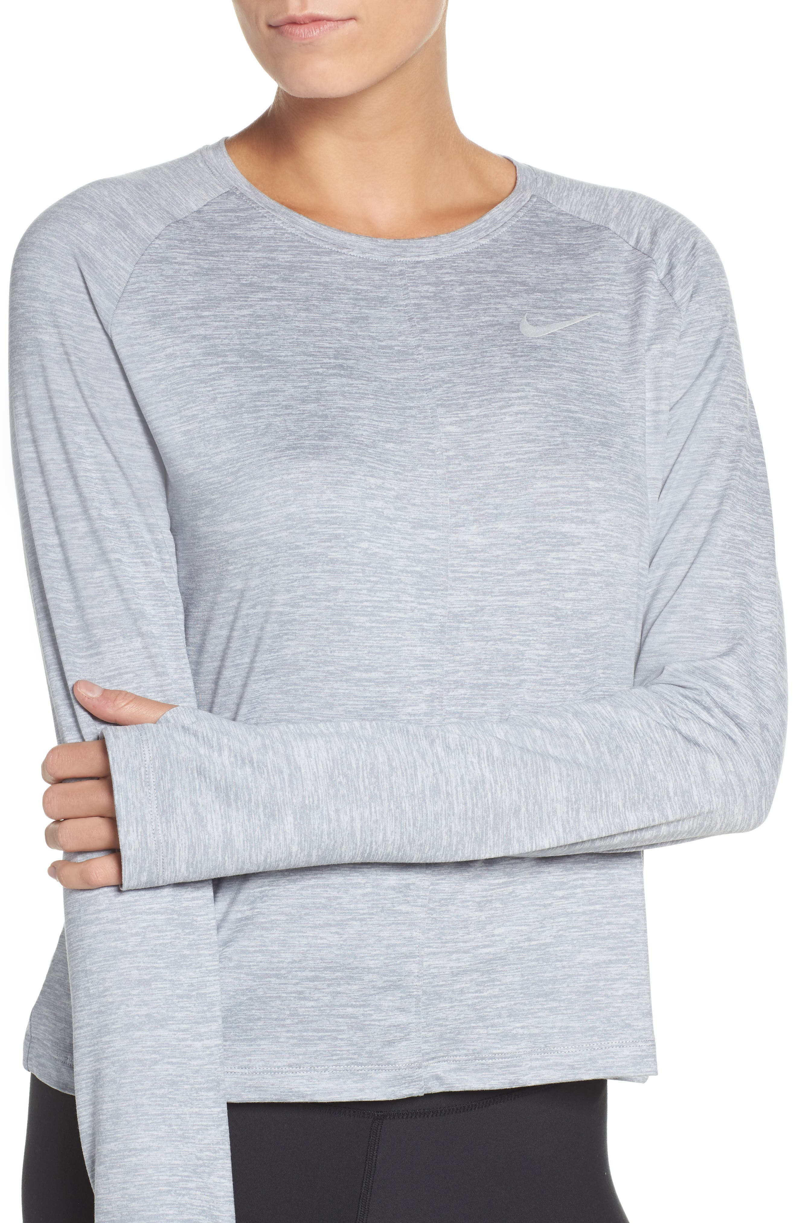 Dry Element Crop Top,                             Alternate thumbnail 4, color,                             Wolf Grey/ Heather