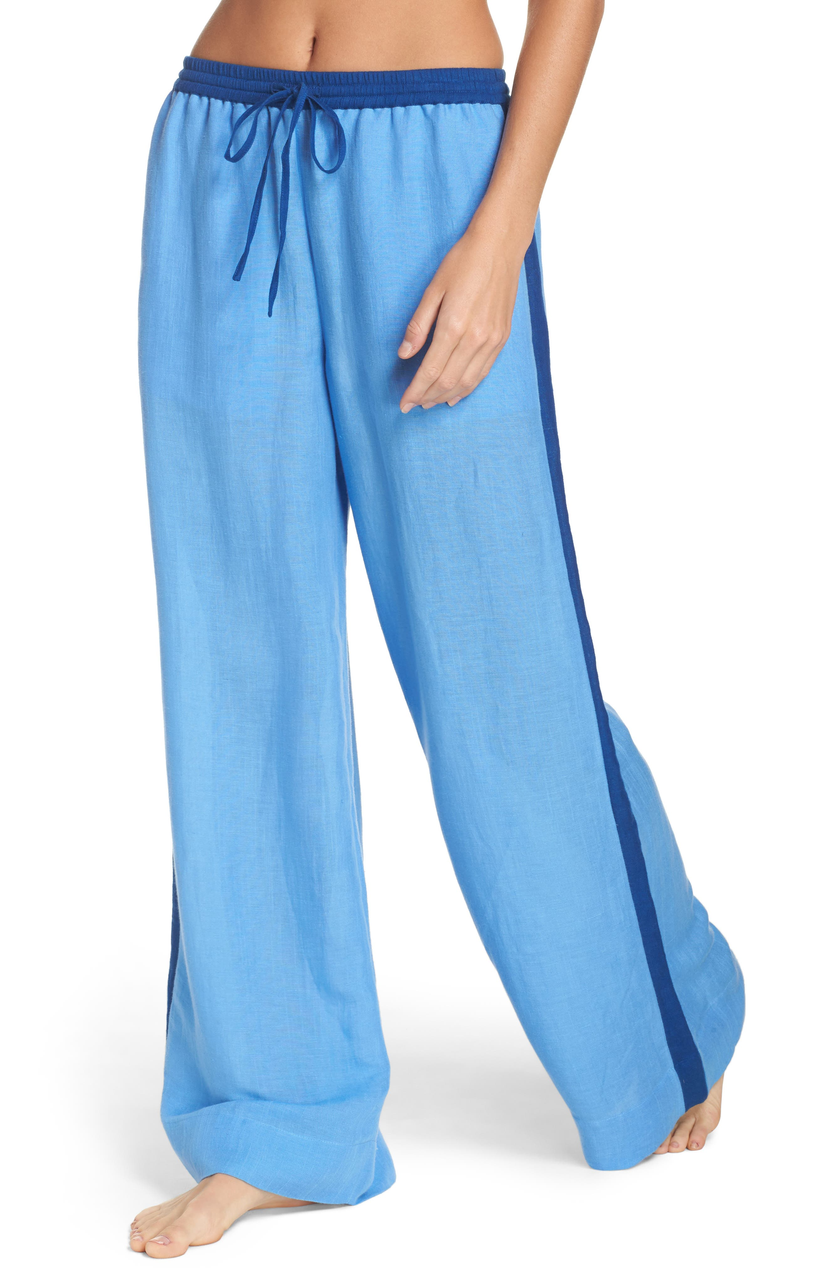 Cover-Up Wide Leg Pants,                         Main,                         color, Hydrangea/ Ink