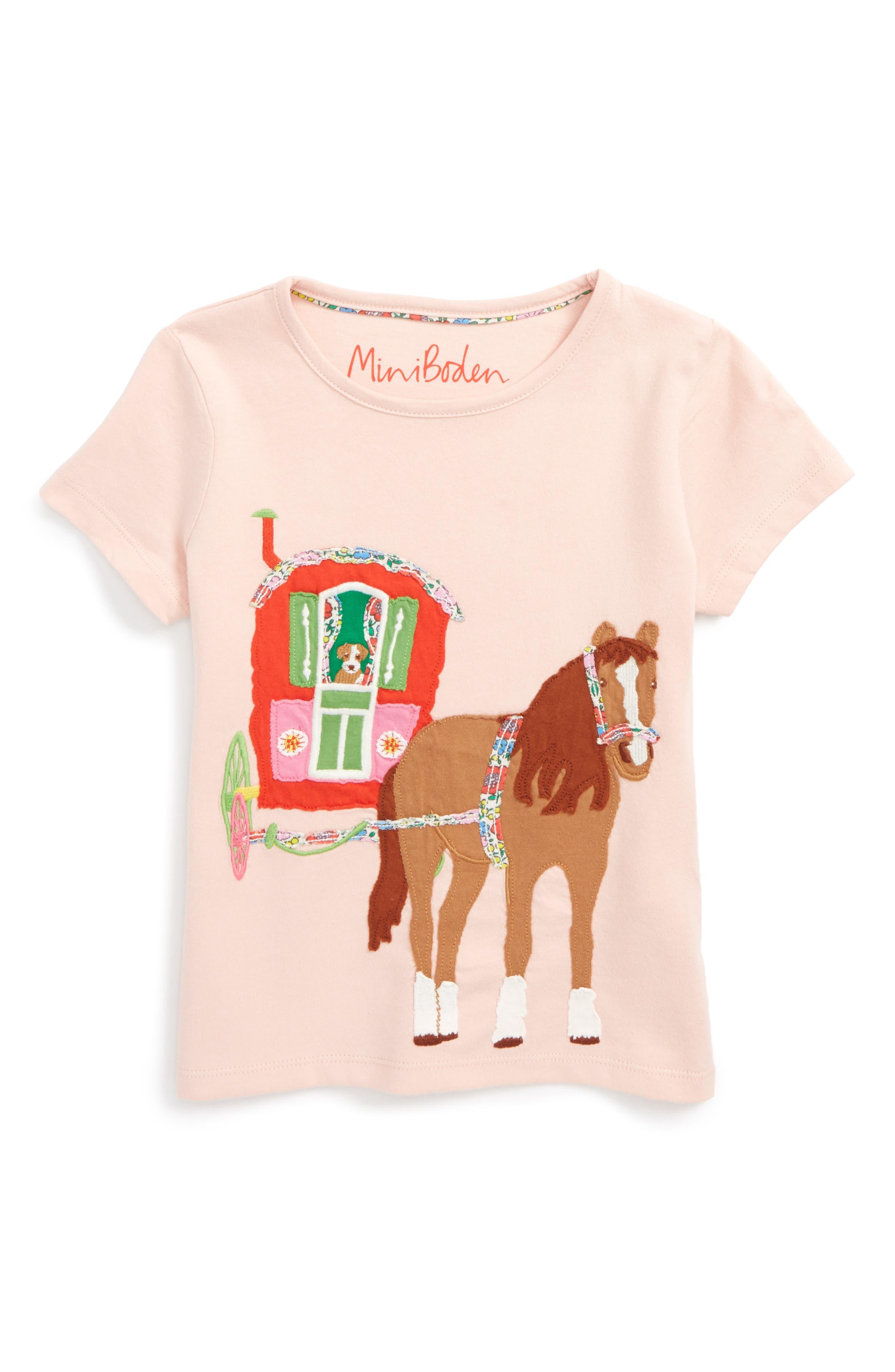 Patchwork Appliqué Tee,                         Main,                         color, Dusty Pink Horse