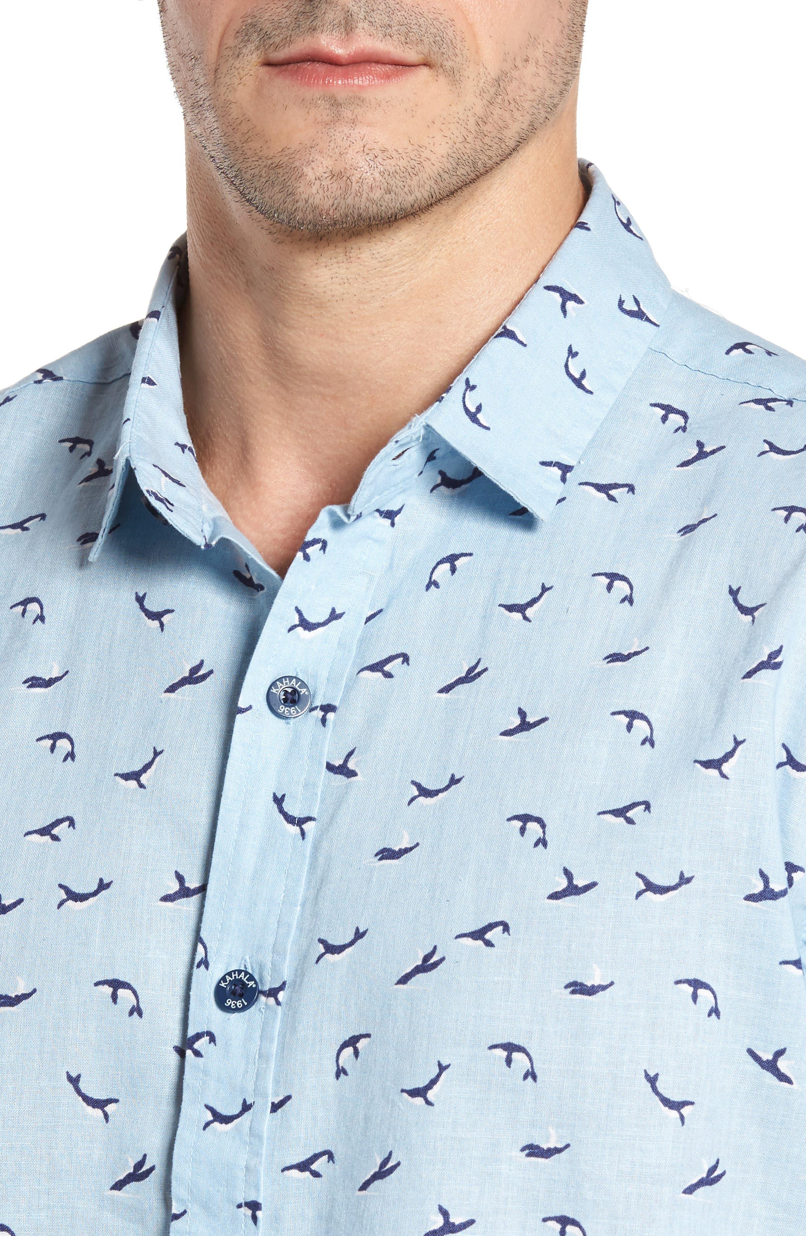 Winter Holiday Trim Fit Print Linen & Cotton Sport Shirt,                             Alternate thumbnail 4, color,                             Shore