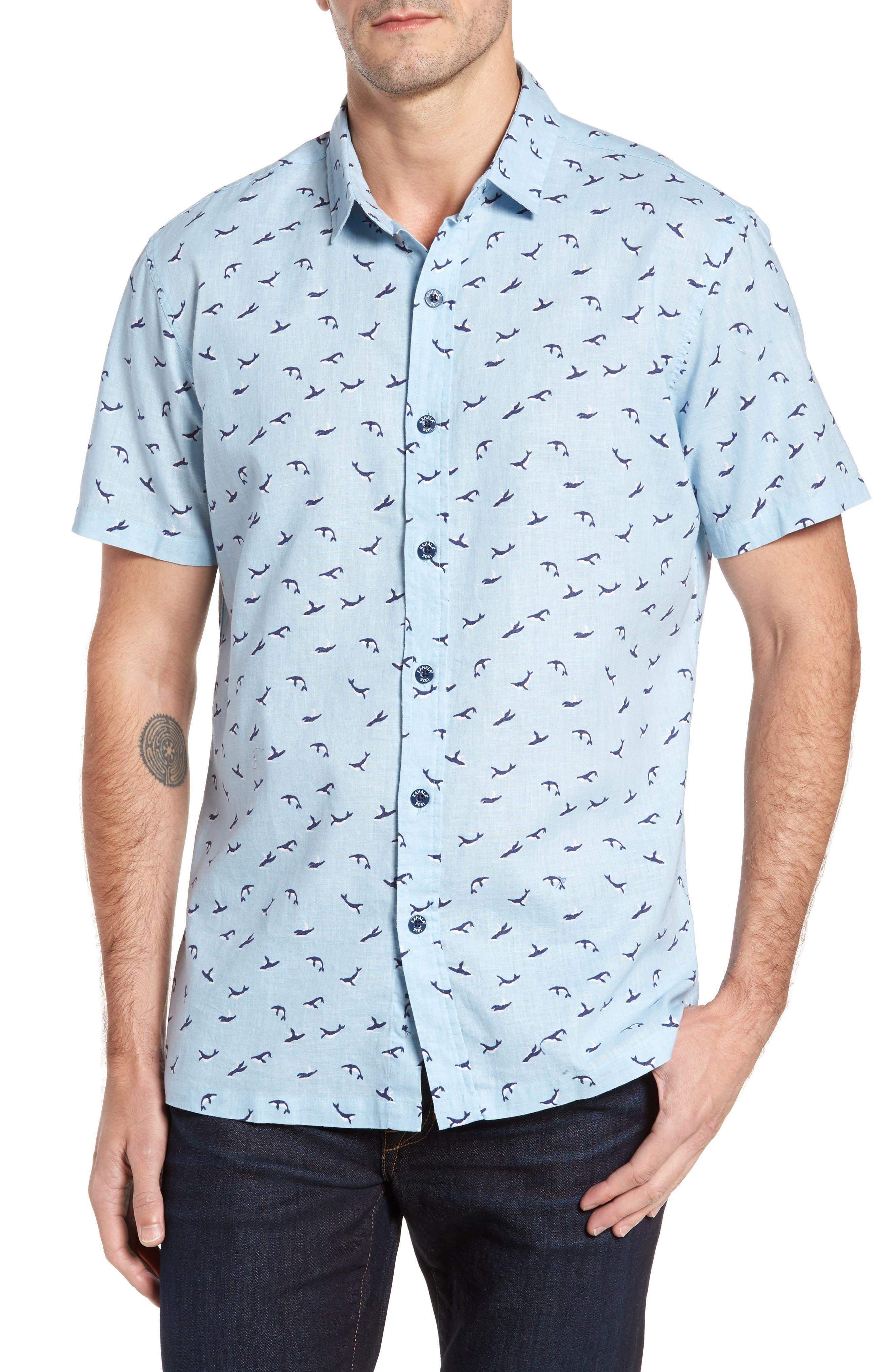 Winter Holiday Trim Fit Print Linen & Cotton Sport Shirt,                         Main,                         color, Shore