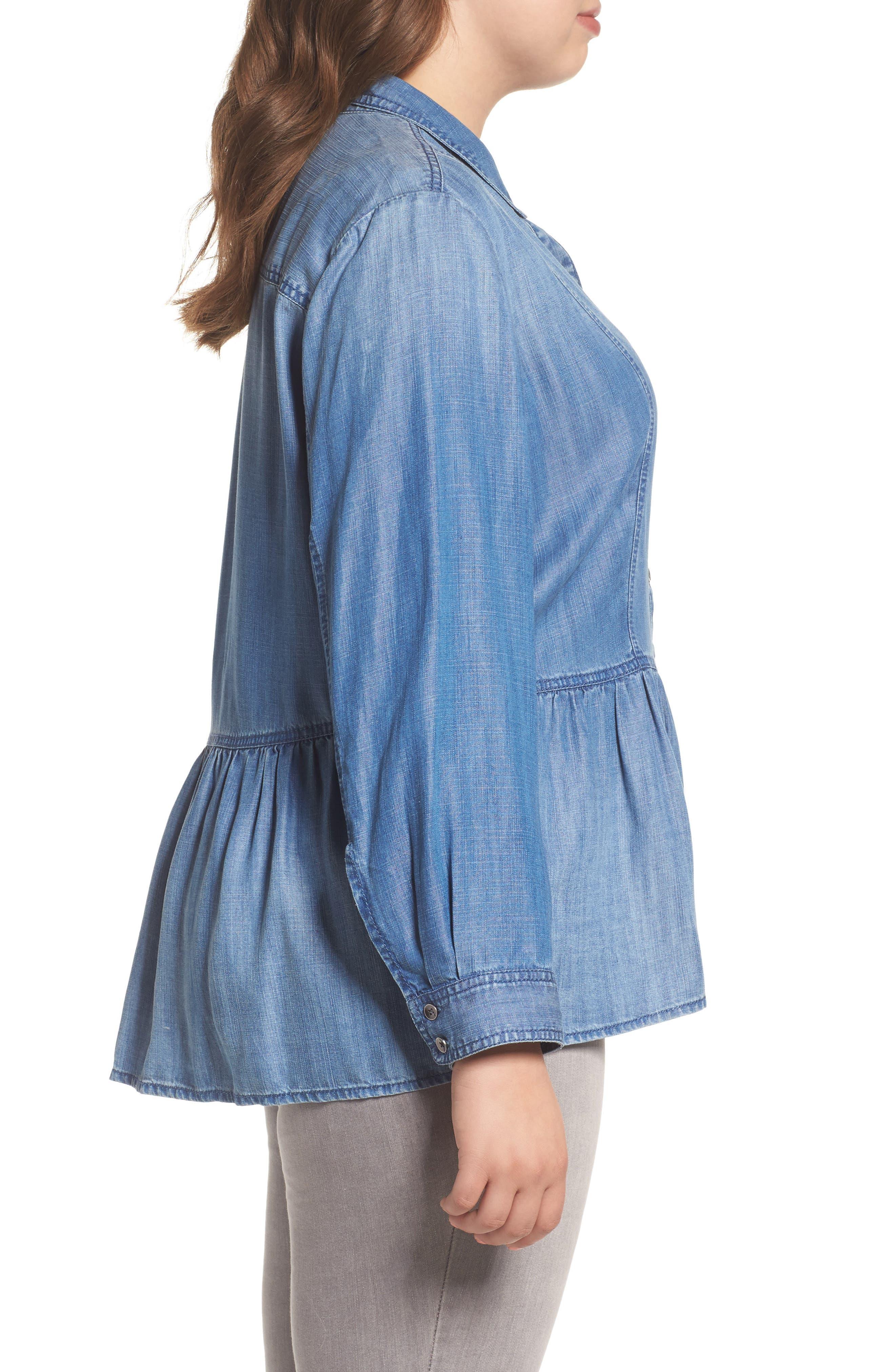 Alternate Image 3  - Caslon® Peplum Denim Shirt (Plus Size)