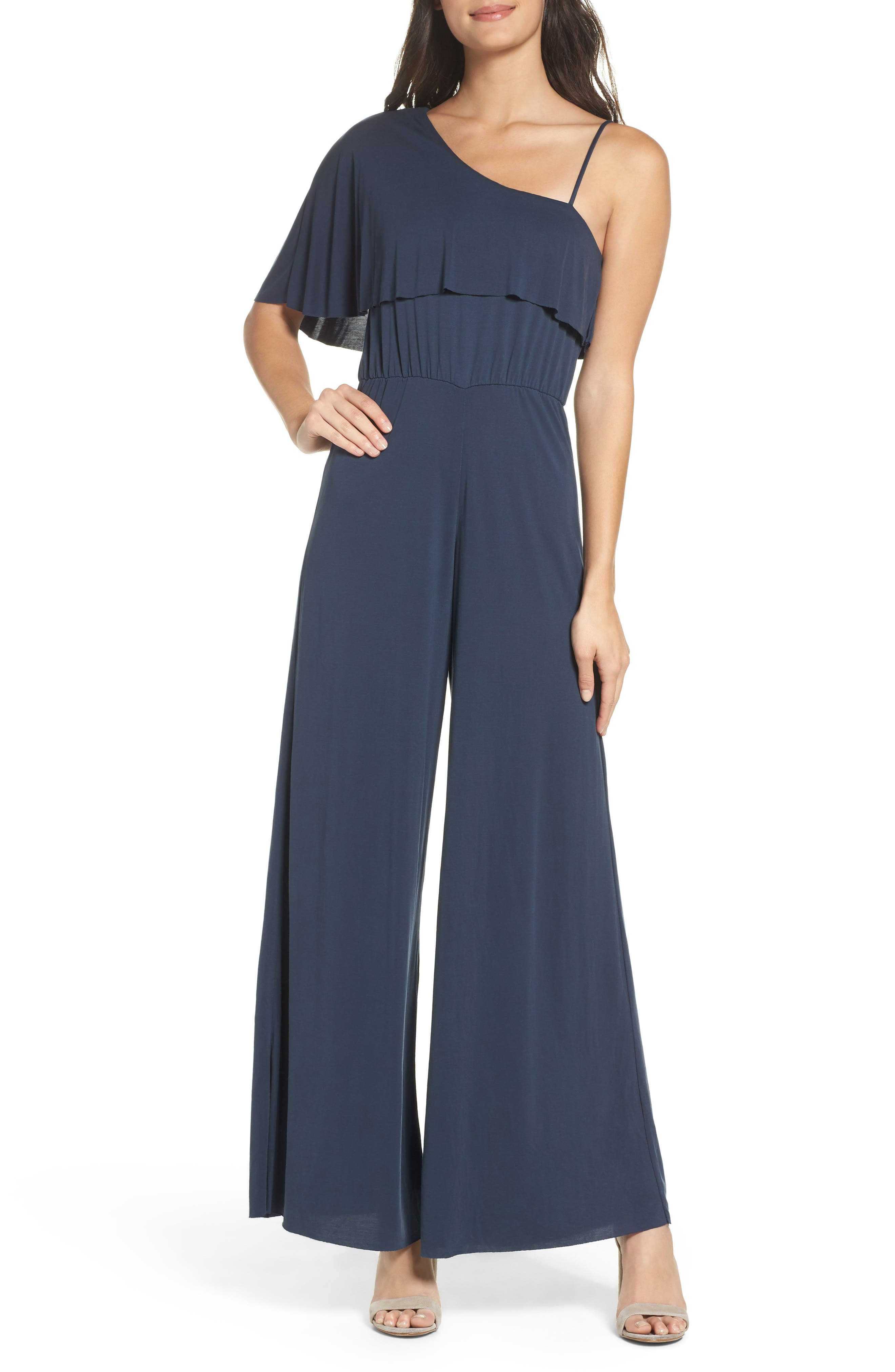 Alternate Image 1 Selected - NSR One-Shoulder Jumpsuit