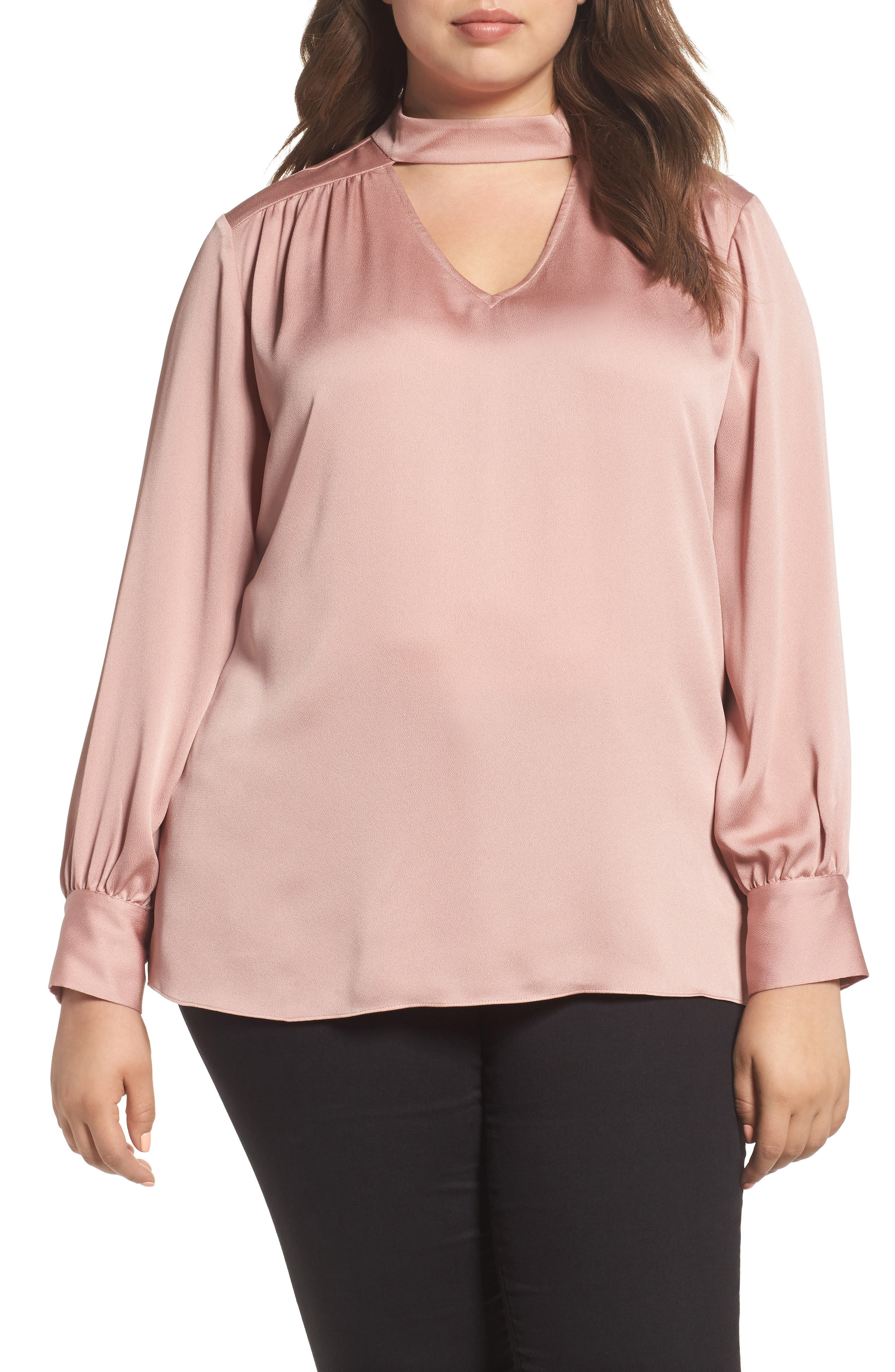 Mock Choker Neck Blouse,                         Main,                         color, 607Iced Rose