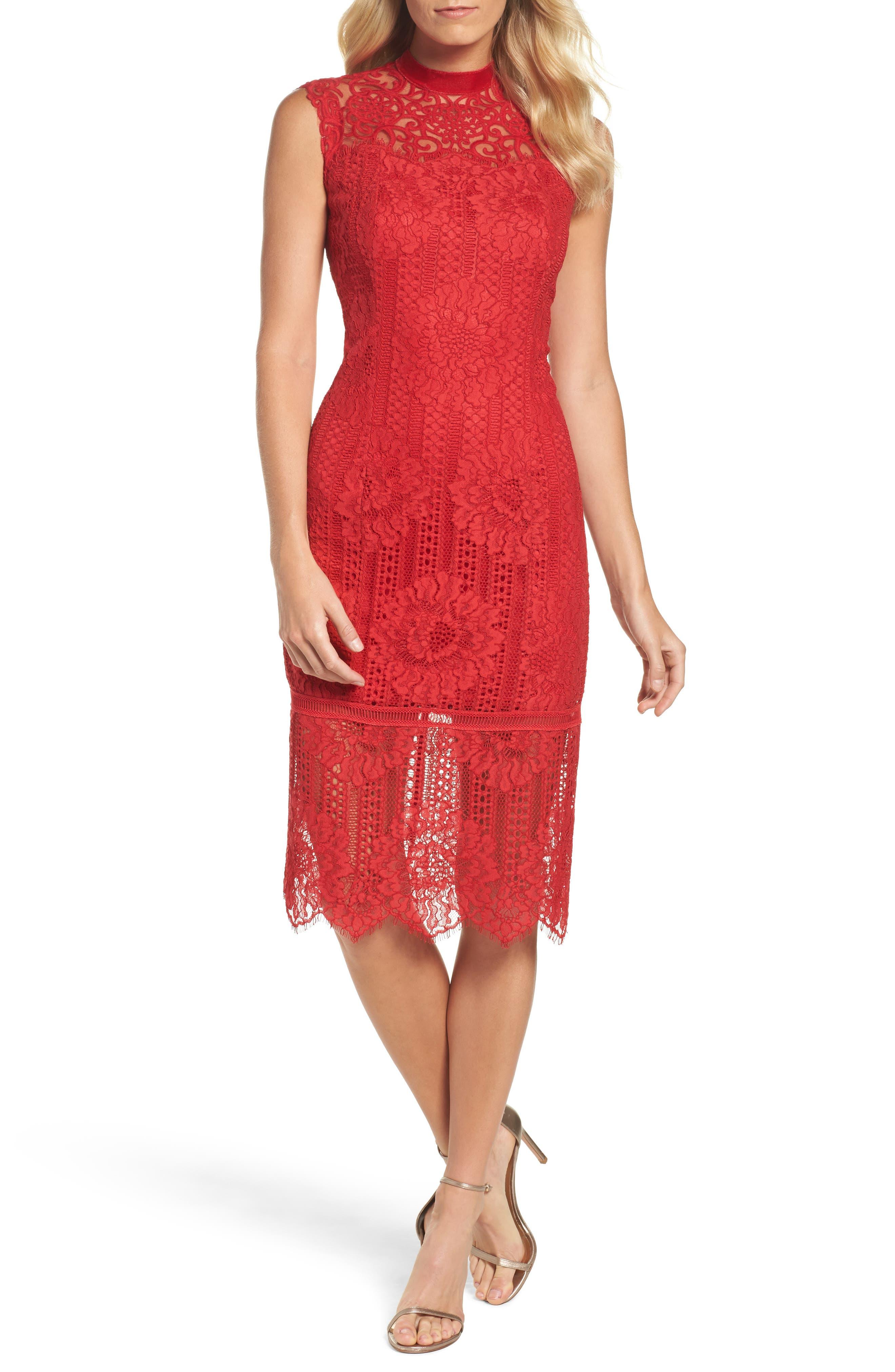 High Neck Stripe Lace Sheath Dress,                         Main,                         color, Cardinal Red
