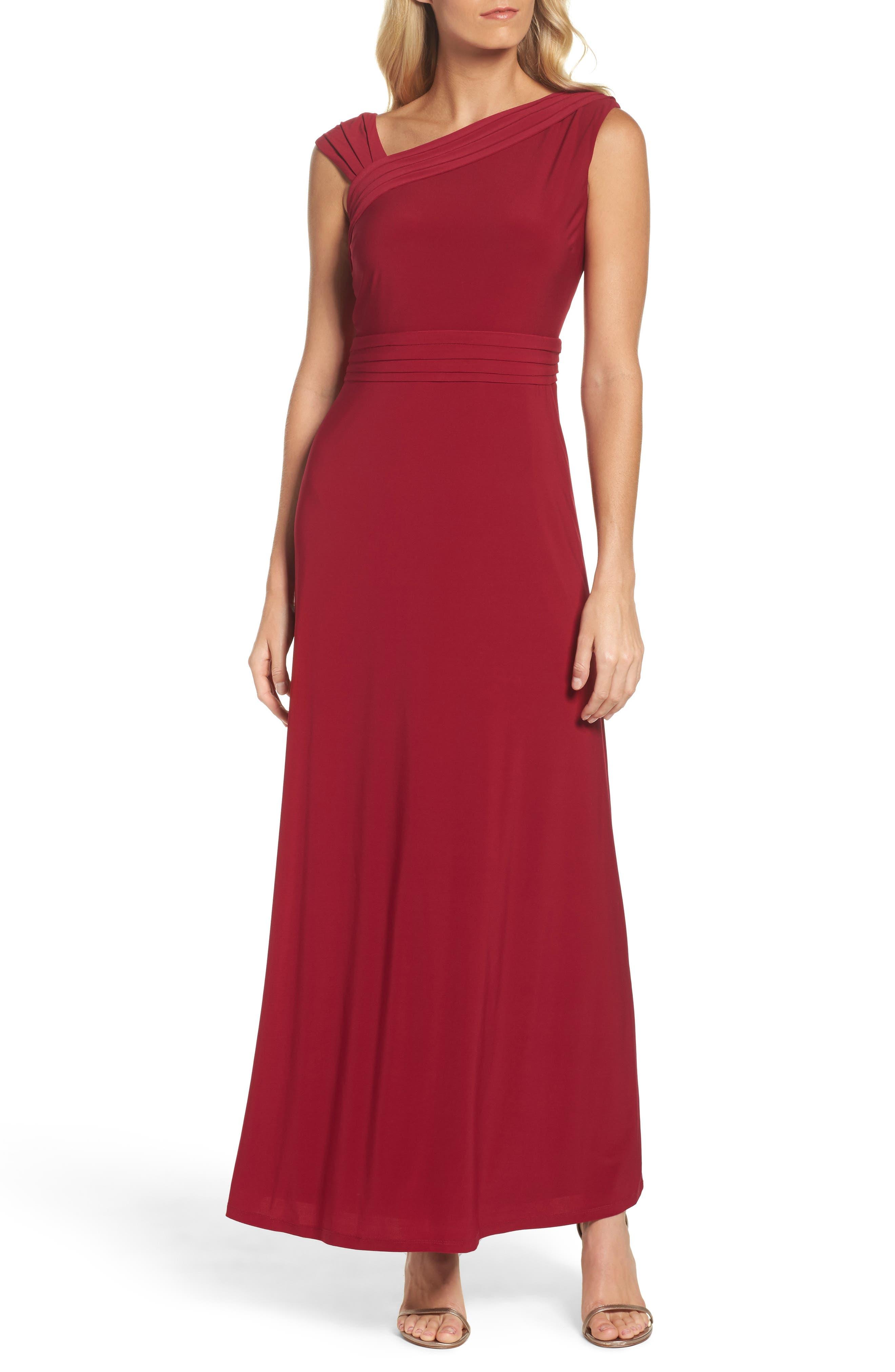 Asymmetrical Neck Jersey Gown,                             Main thumbnail 1, color,                             Garnet