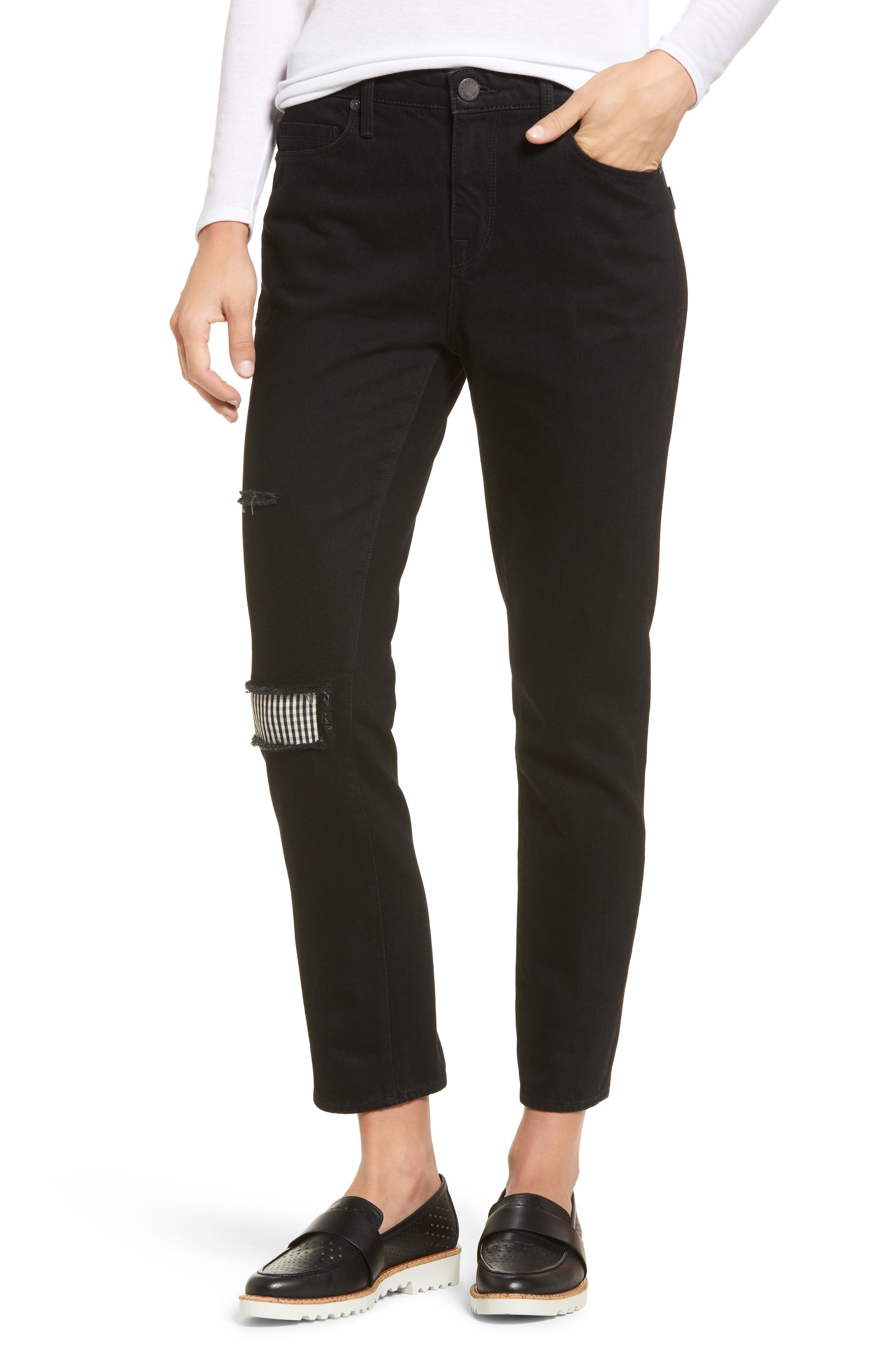 Main Image - PARKER SMITH Anti-Fit Ankle Straight Jeans (Black Magic)