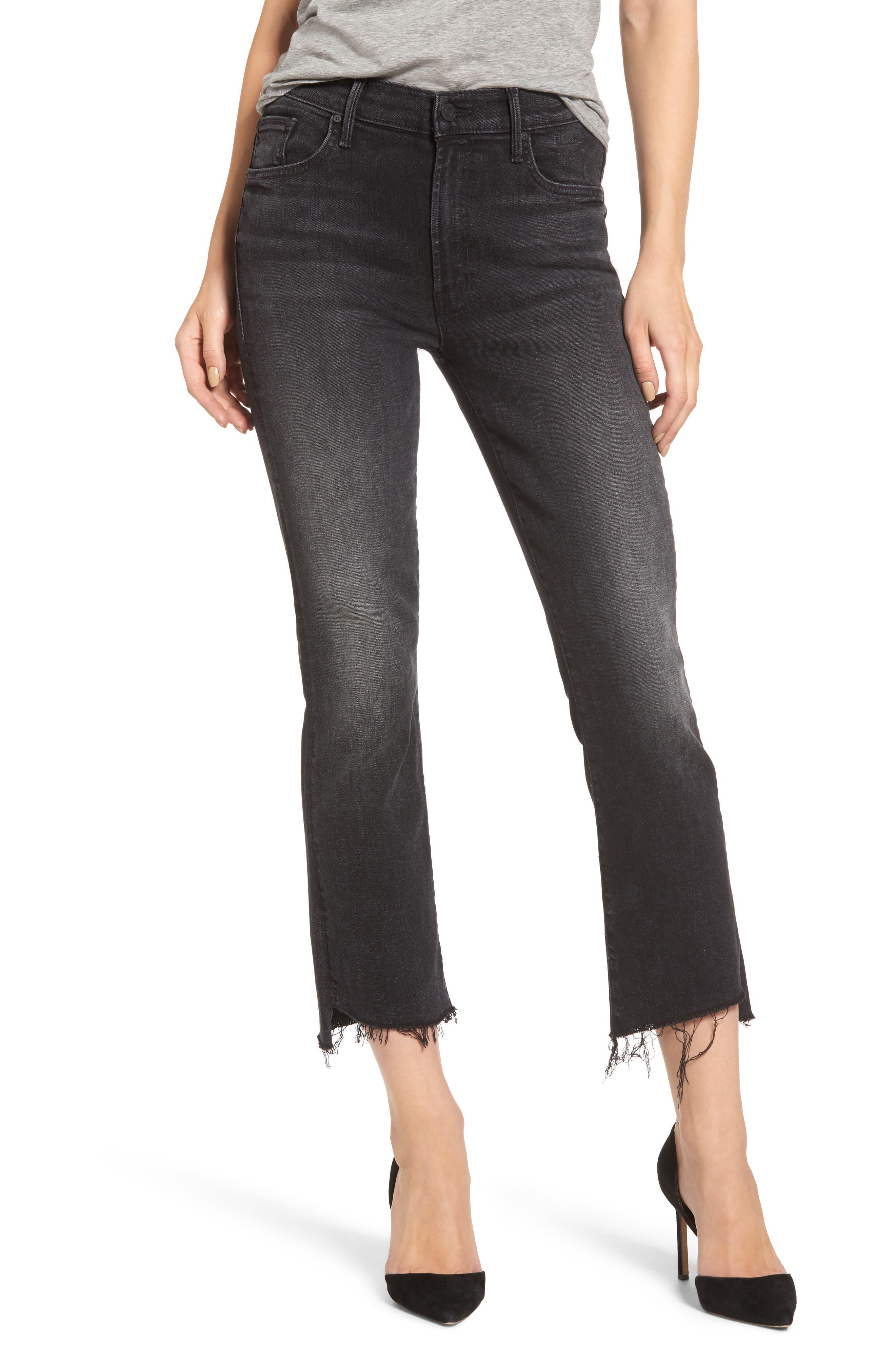 MOTHER The Insider High Waist Step Hem Crop Bootcut Jeans (Night Hawk)