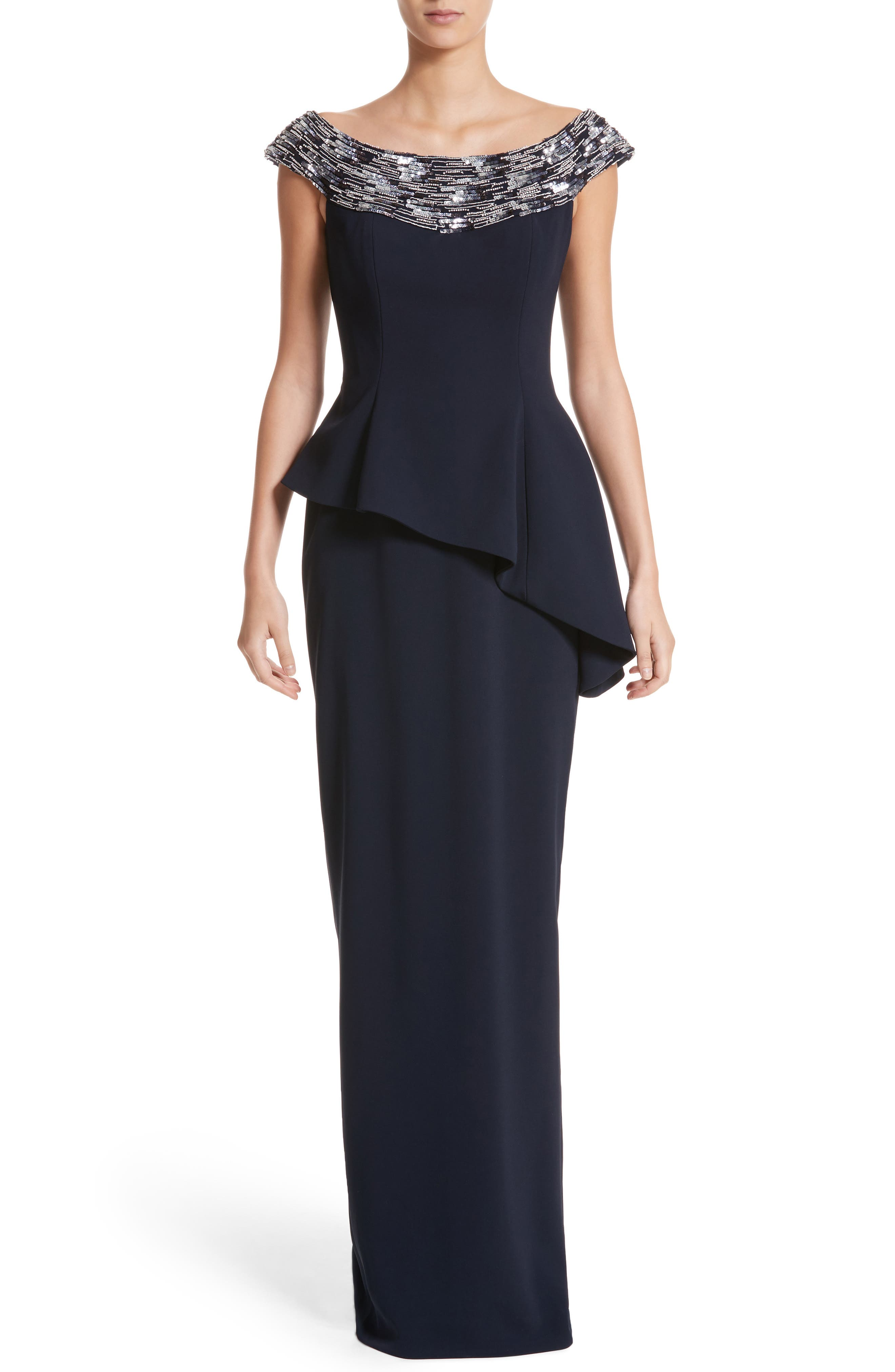 Embellished Off the Shoulder Peplum Gown,                         Main,                         color, Navy/ Black Navy Ombre