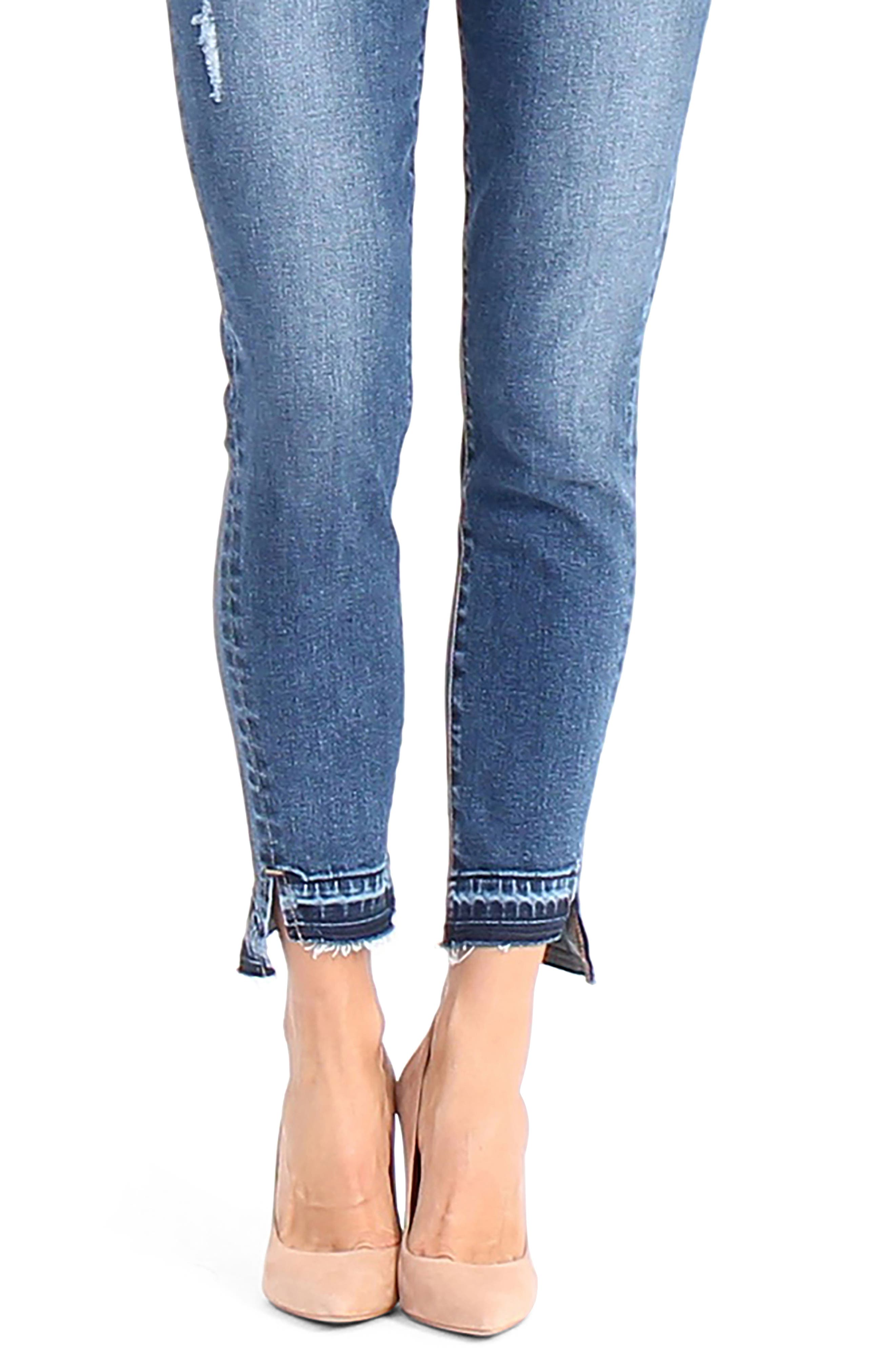 Elle Uneven Hem Skinny Jeans,                             Alternate thumbnail 5, color,                             After Glow