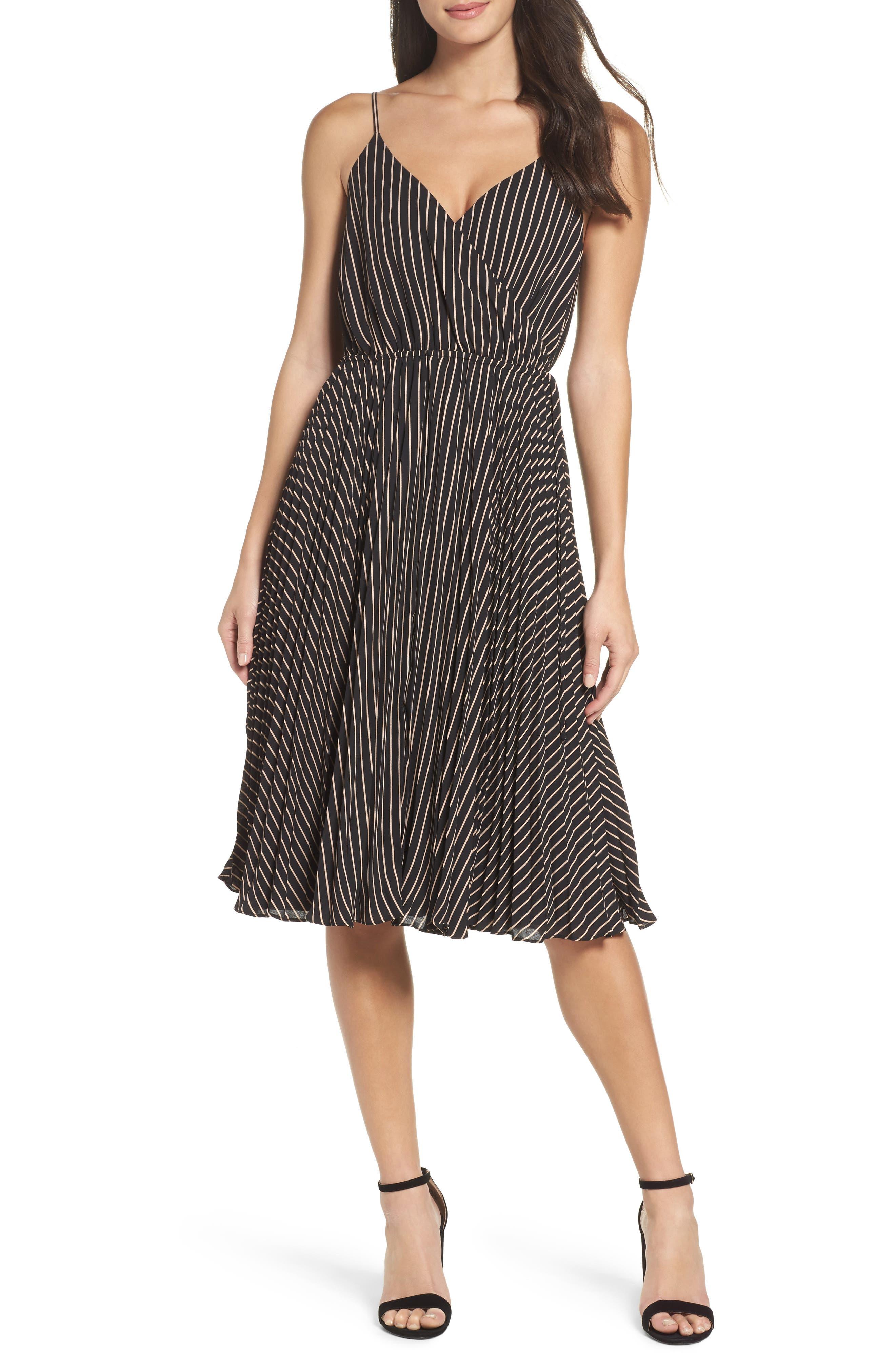 Like a Boss Midi Dress,                             Main thumbnail 1, color,                             Black/ Tan Stripe