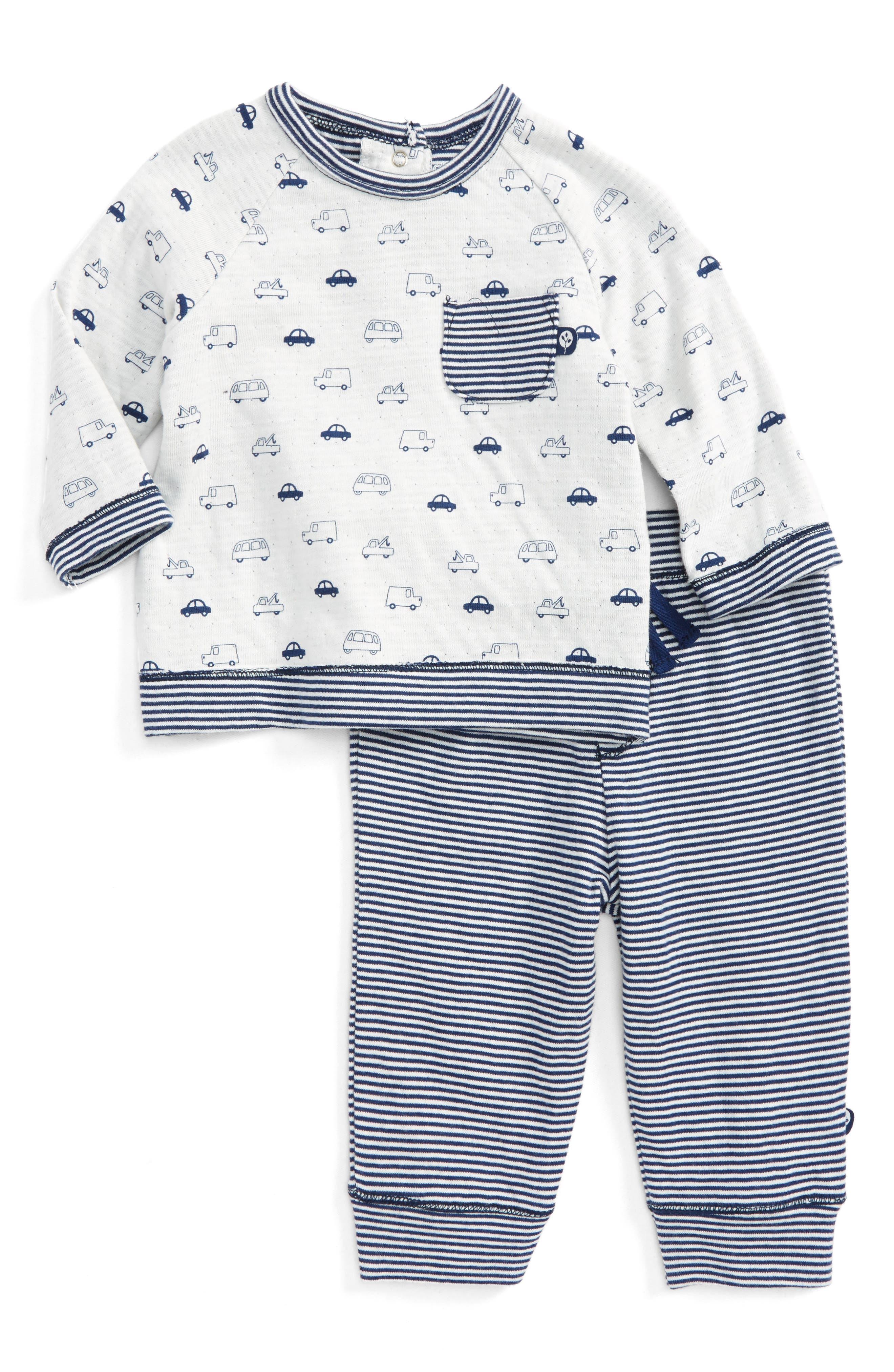 Traffic Circles Sweatshirt & Pants Set,                             Main thumbnail 1, color,                             Navy Stripe