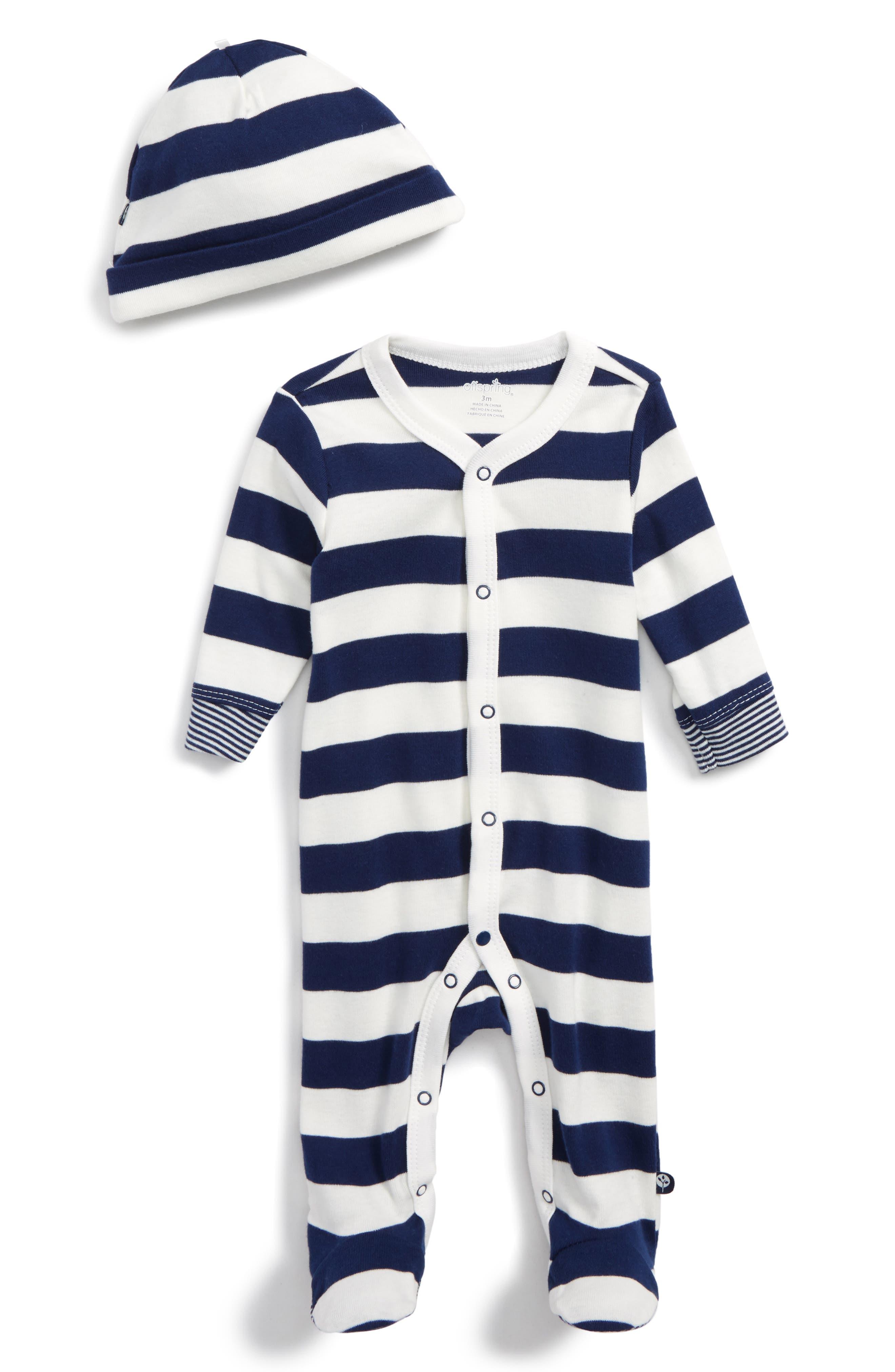 Stripe Footie & Hat,                         Main,                         color, Navy Stripe