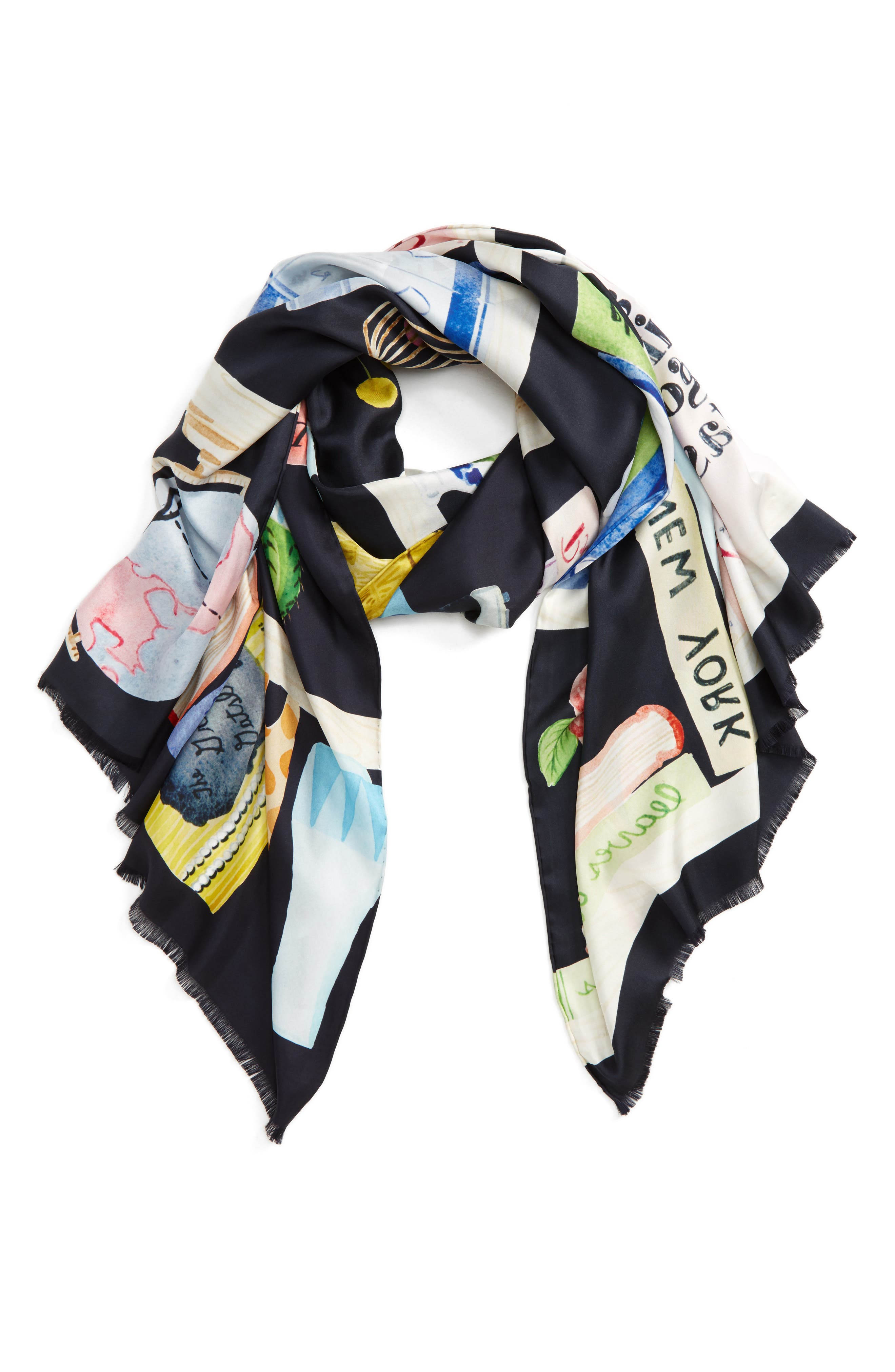 bookshelf print silk scarf,                         Main,                         color, Rich Navy