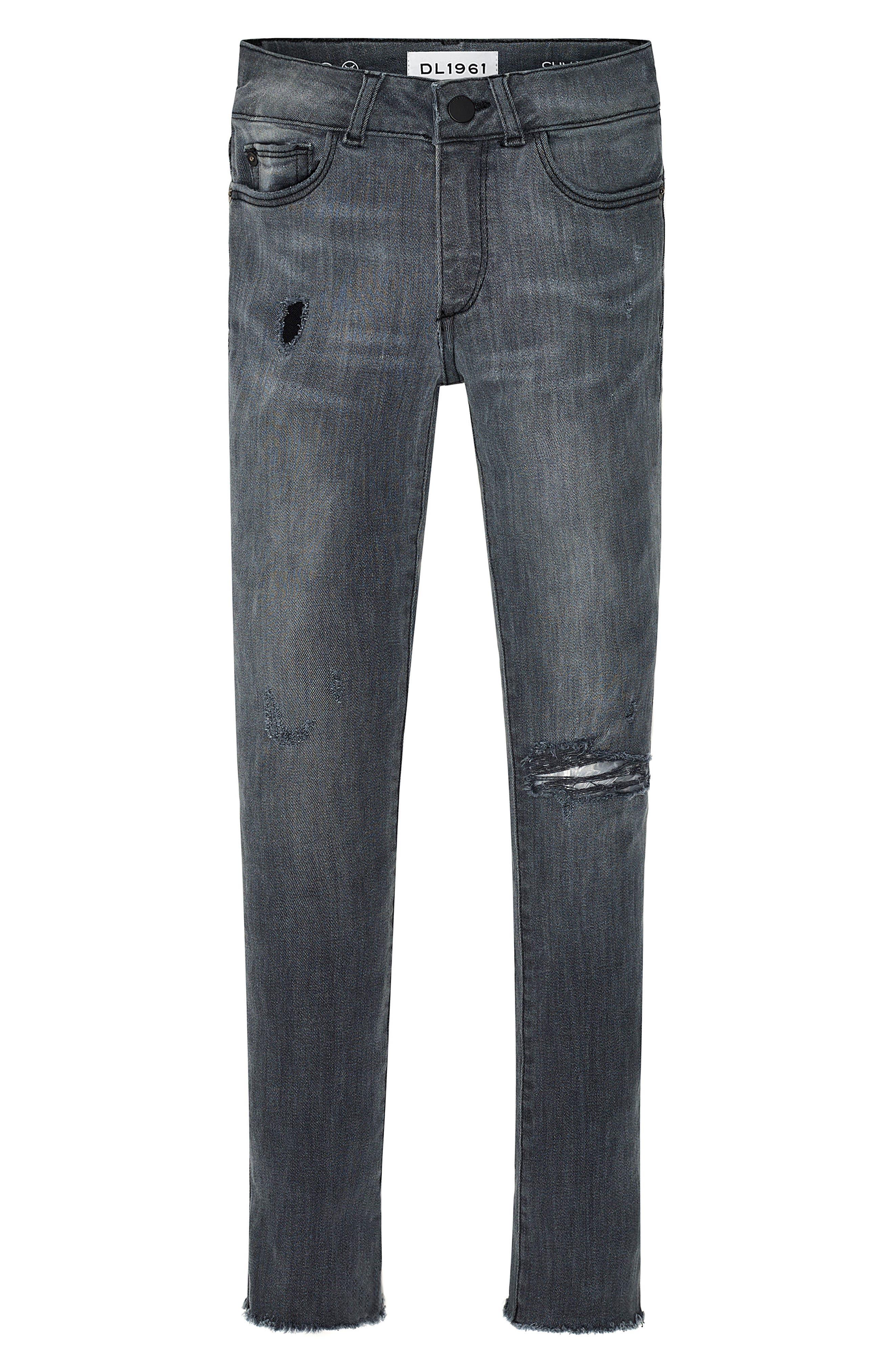 Alternate Image 1 Selected - DL1961 Chloe Raw Hem Skinny Jeans (Big Girls)