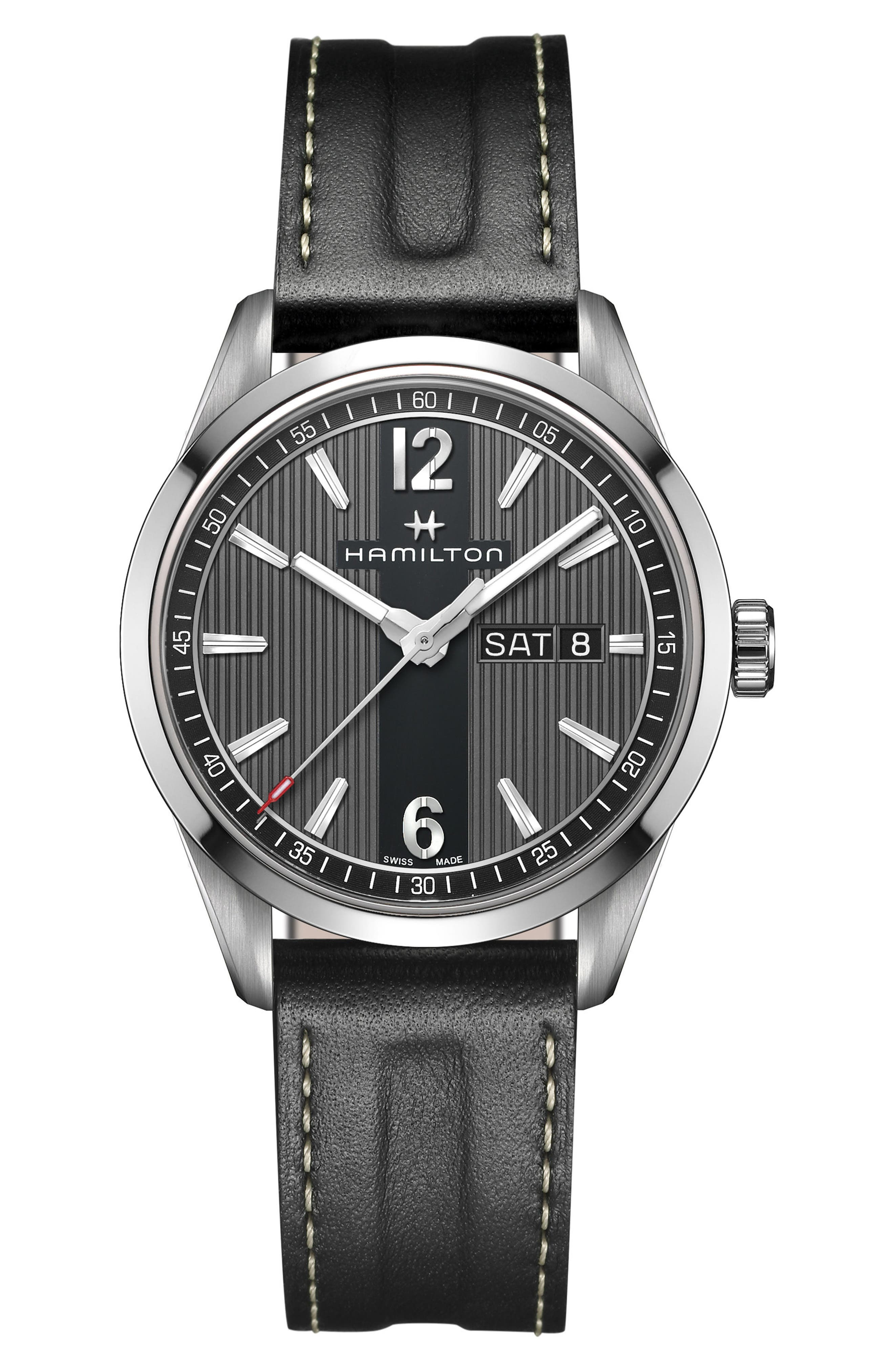 American Classic Broadway Leather Strap Watch, 40mm,                         Main,                         color, Black/ Silver/ Dark Grey