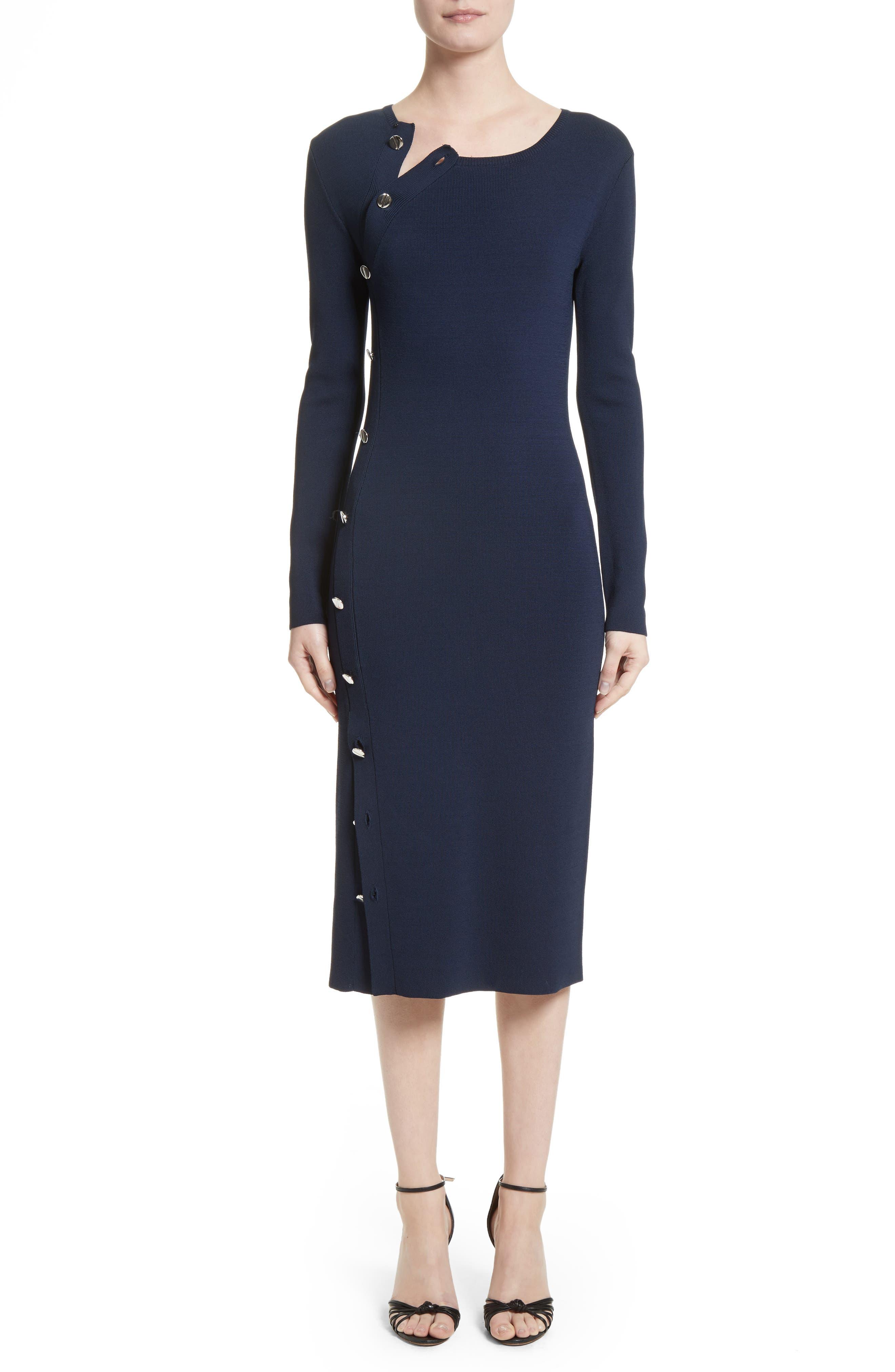 Button Detail Knit Dress,                             Main thumbnail 1, color,                             Navy