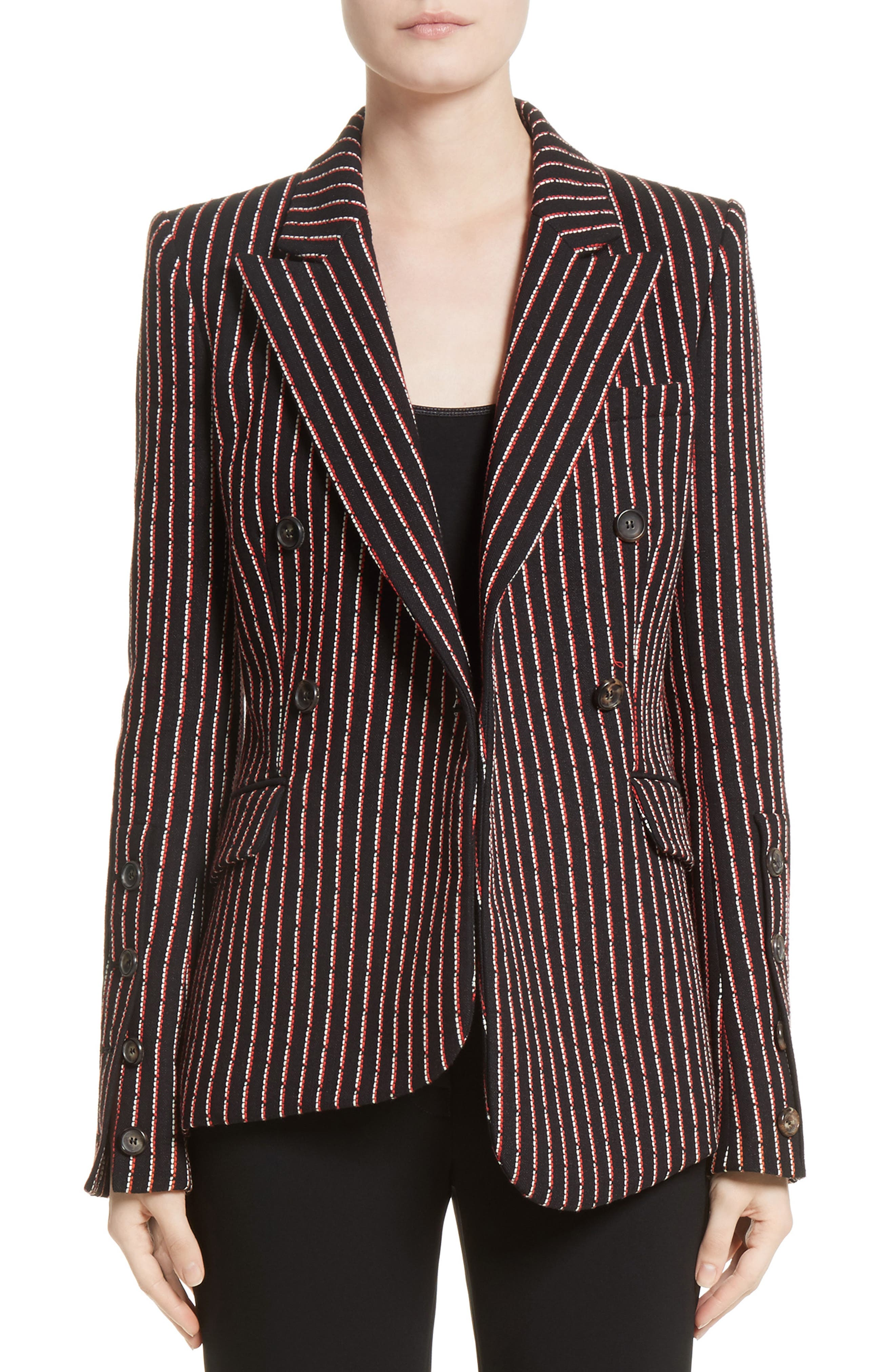 Pinstripe Double Breasted Blazer,                             Main thumbnail 1, color,                             Black White Persimmon